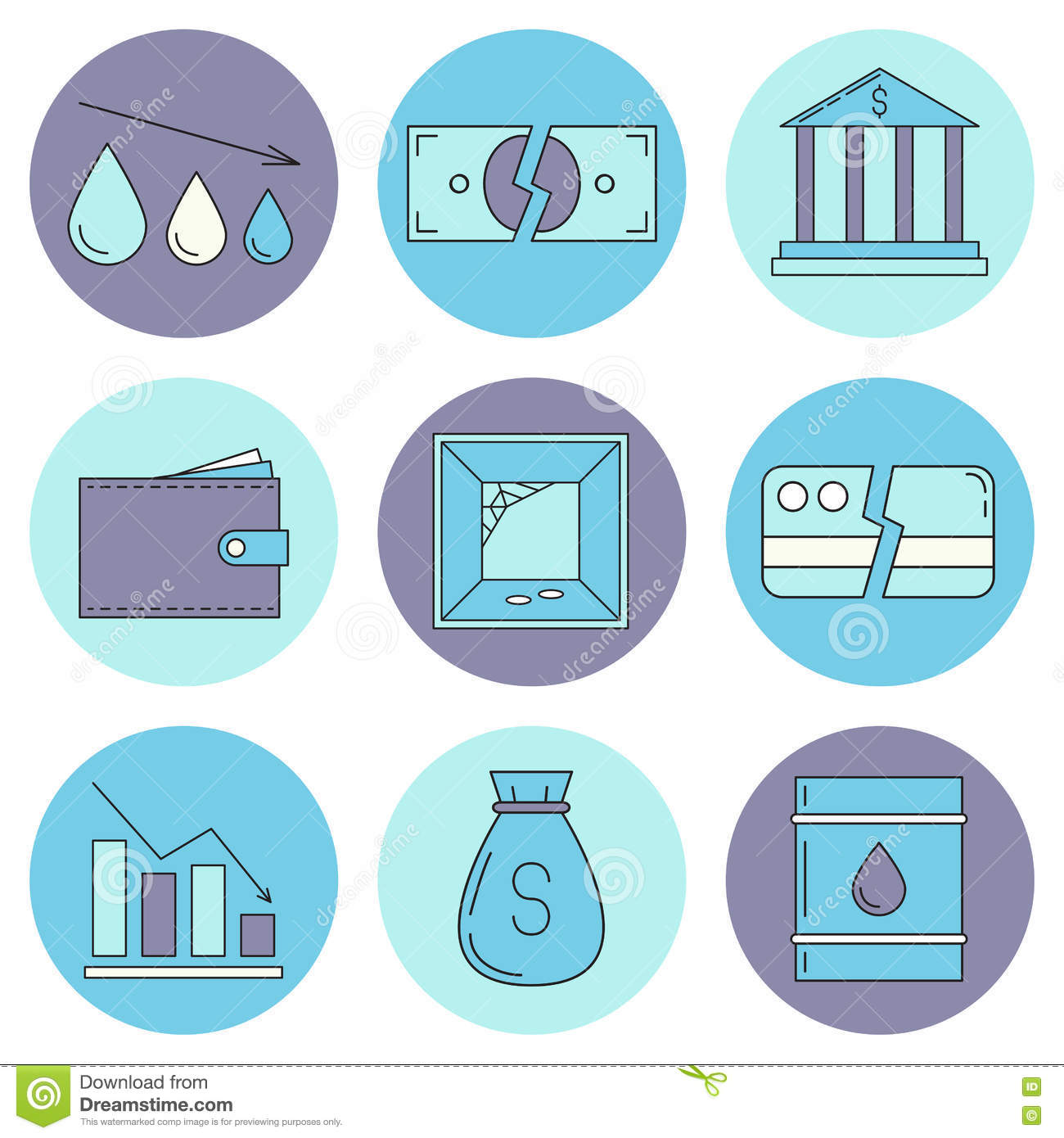 Set Of Economy Crysis Icons Stock Illustration Illustration Of