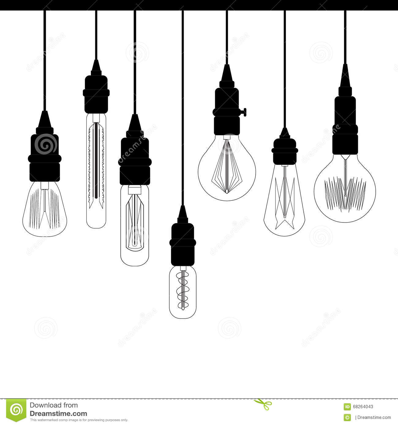 Set Of Edison Loft Lights. Retro Lamp For Design Catalog