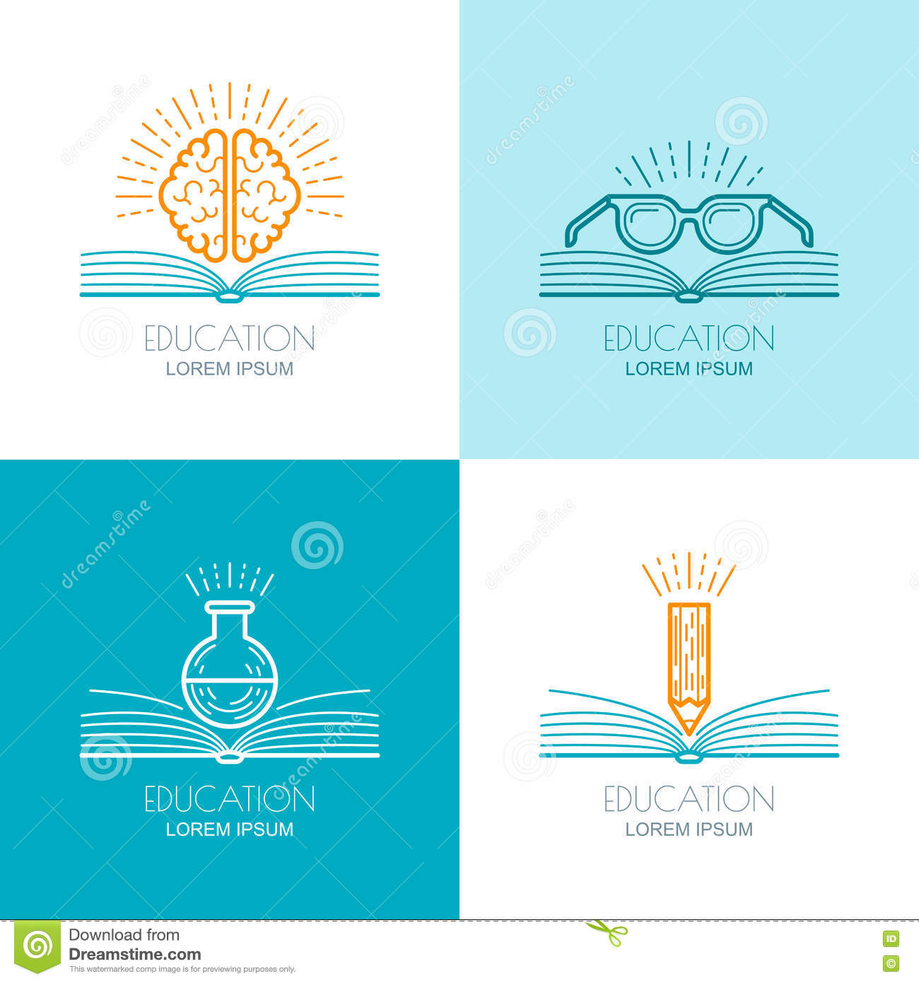 Set Of Education Logo Icons Emblems Design Elements Stock Vector