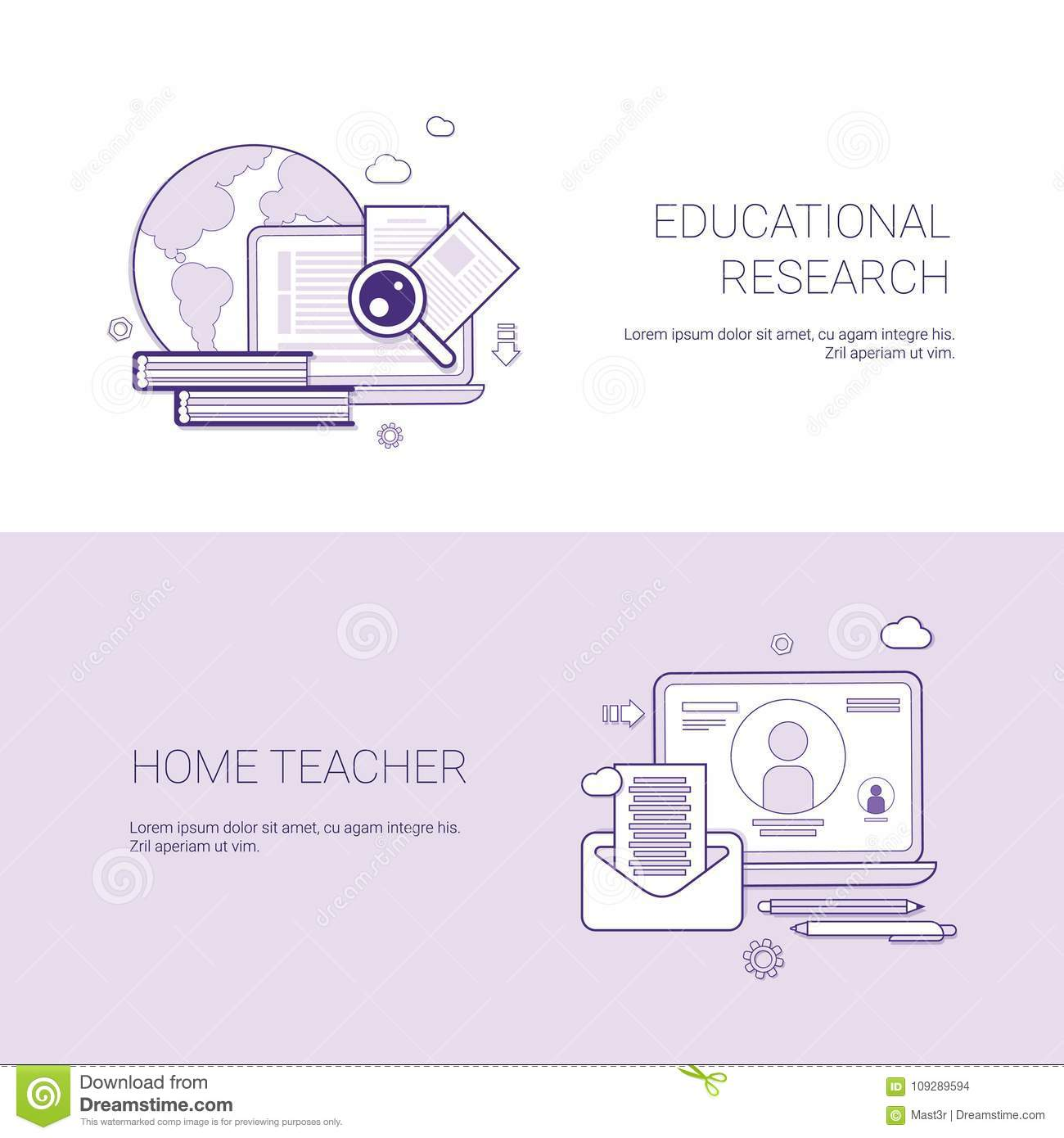 Set of educational research and home teacher banners business download set of educational research and home teacher banners business concept template background with copy space cheaphphosting Image collections