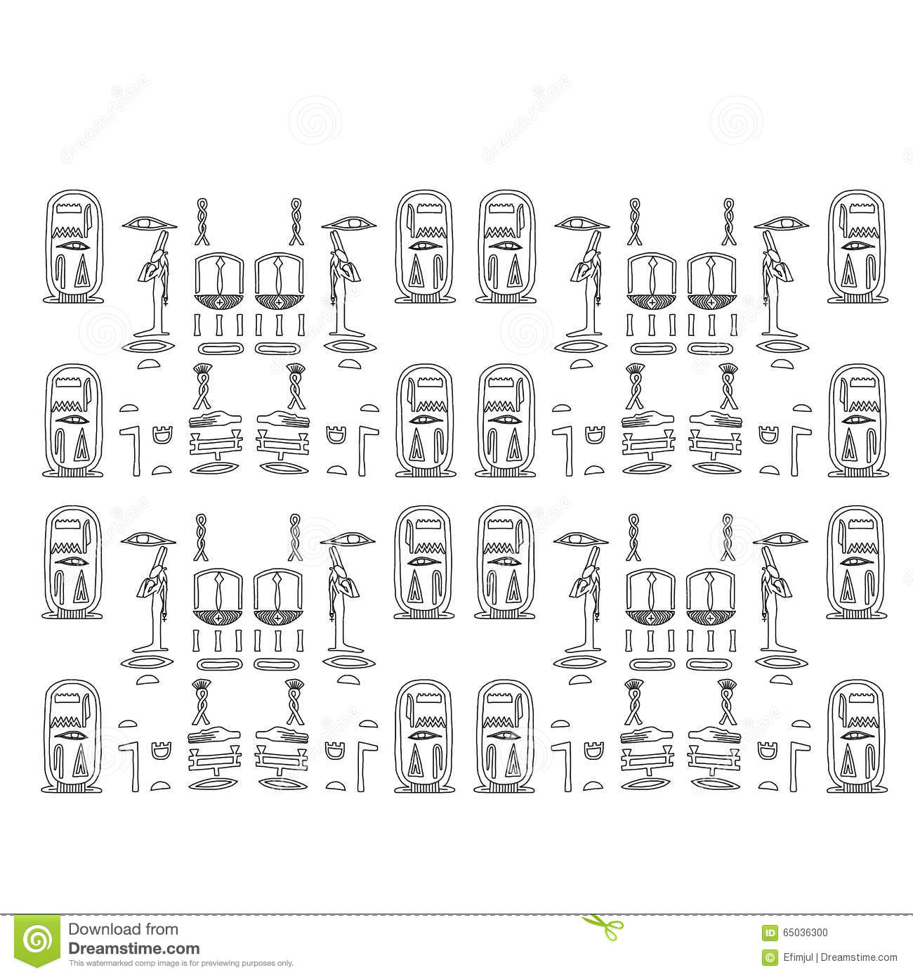Set Of Egyptian Symbols Stock Vector Illustration Of Ancient 65036300