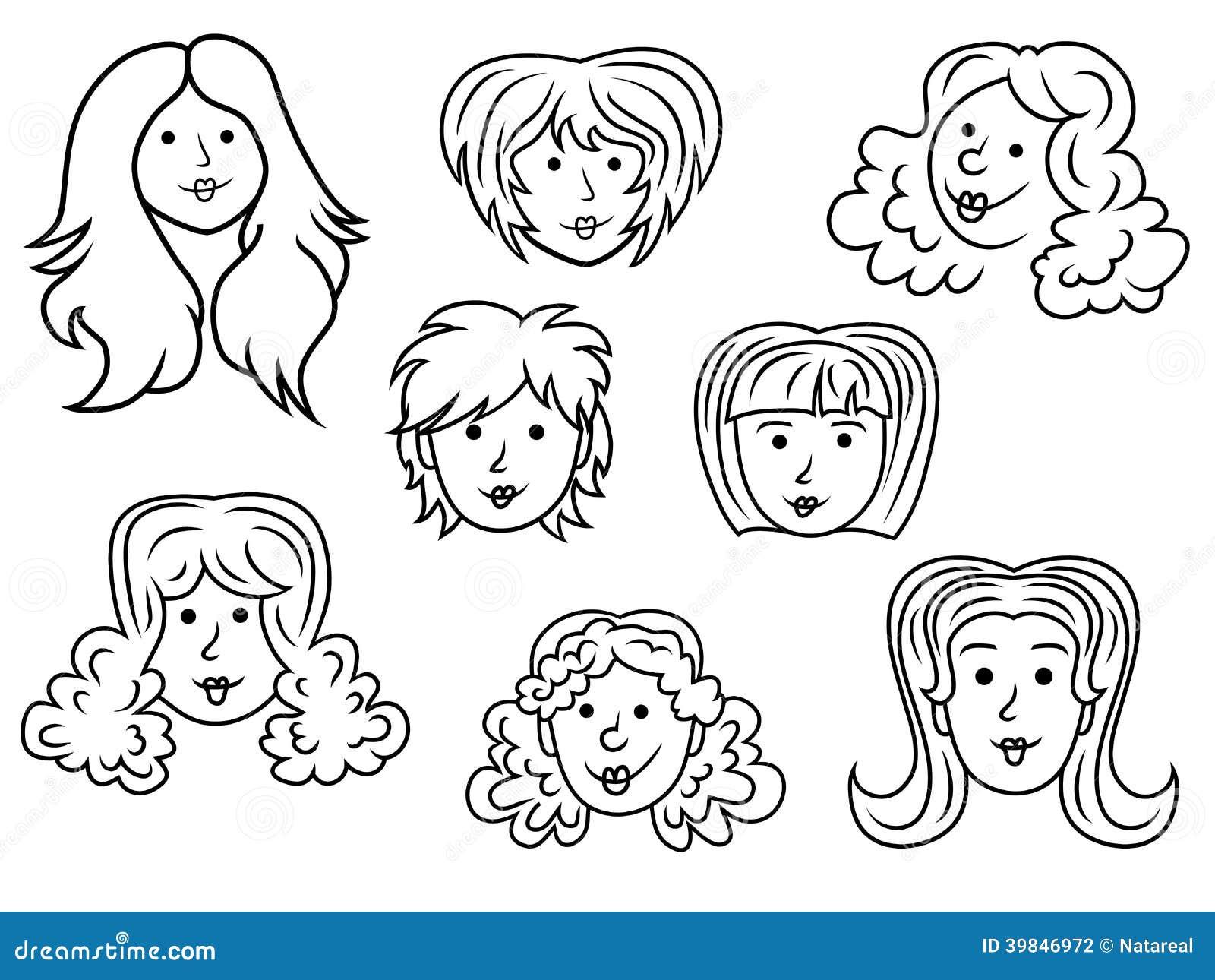 Set Of Eight Cartoon Women Contour Faces Stock Vector ...