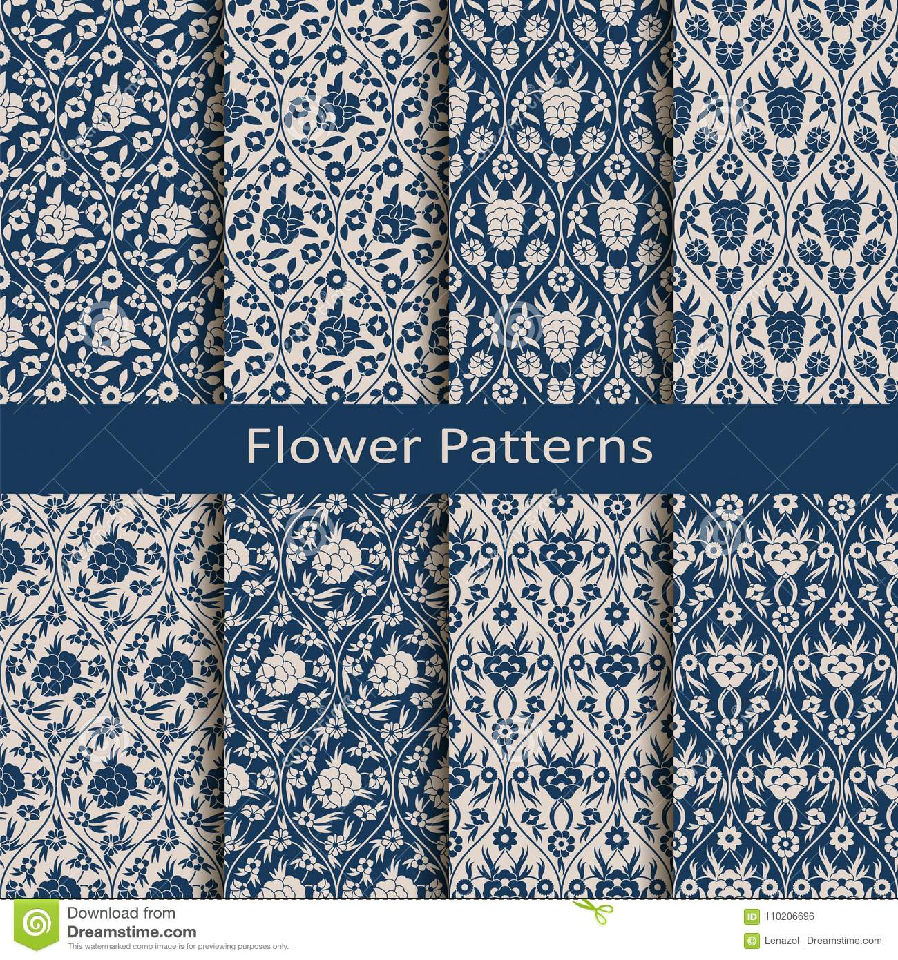 Set with eight seamless vector arabesque floral patterns with vintage print. design for textile, packaging, fashion, covers