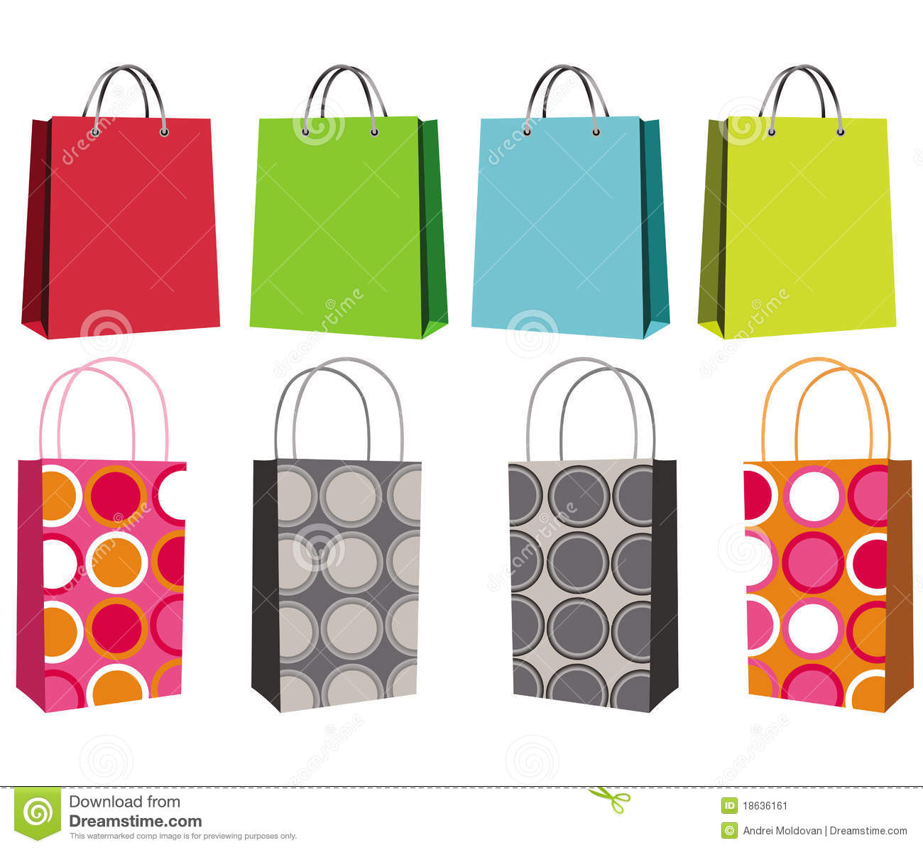 Set Of Eight Shopping Bags Stock Image - Image: 18636161