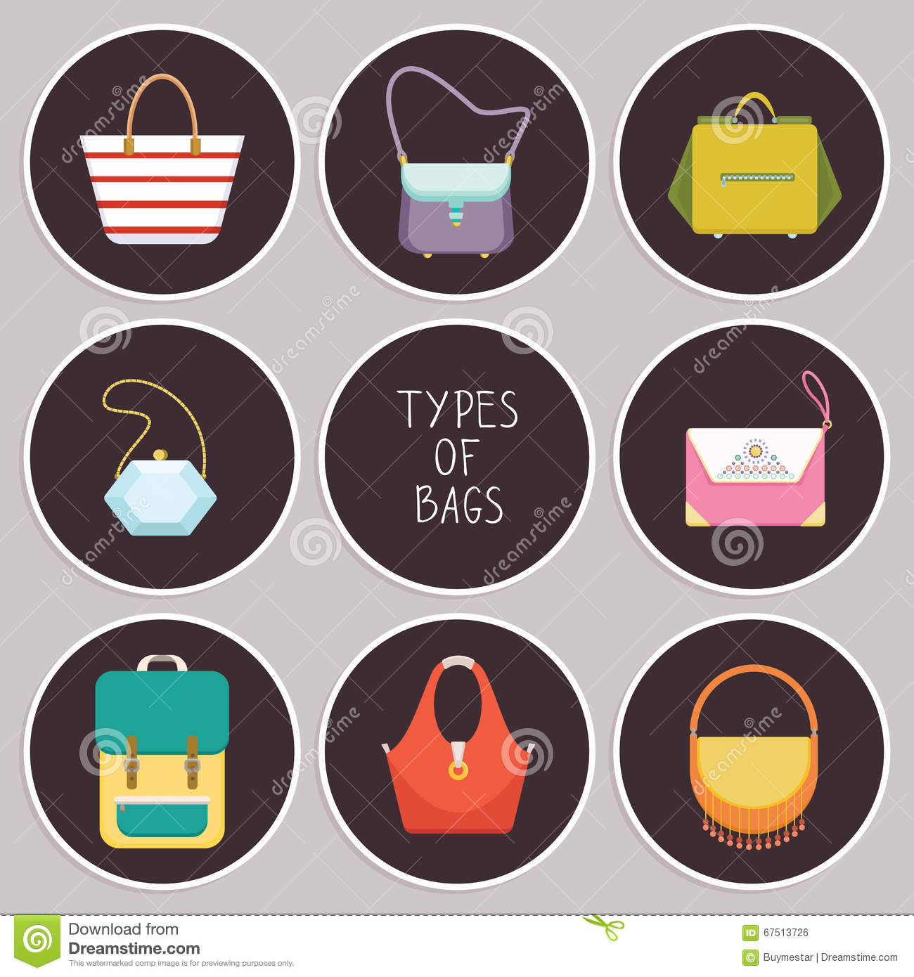 43f0492ee7 Set Of Eight Simple Flat Icons Of Different Hand Bag Types - Vector ...