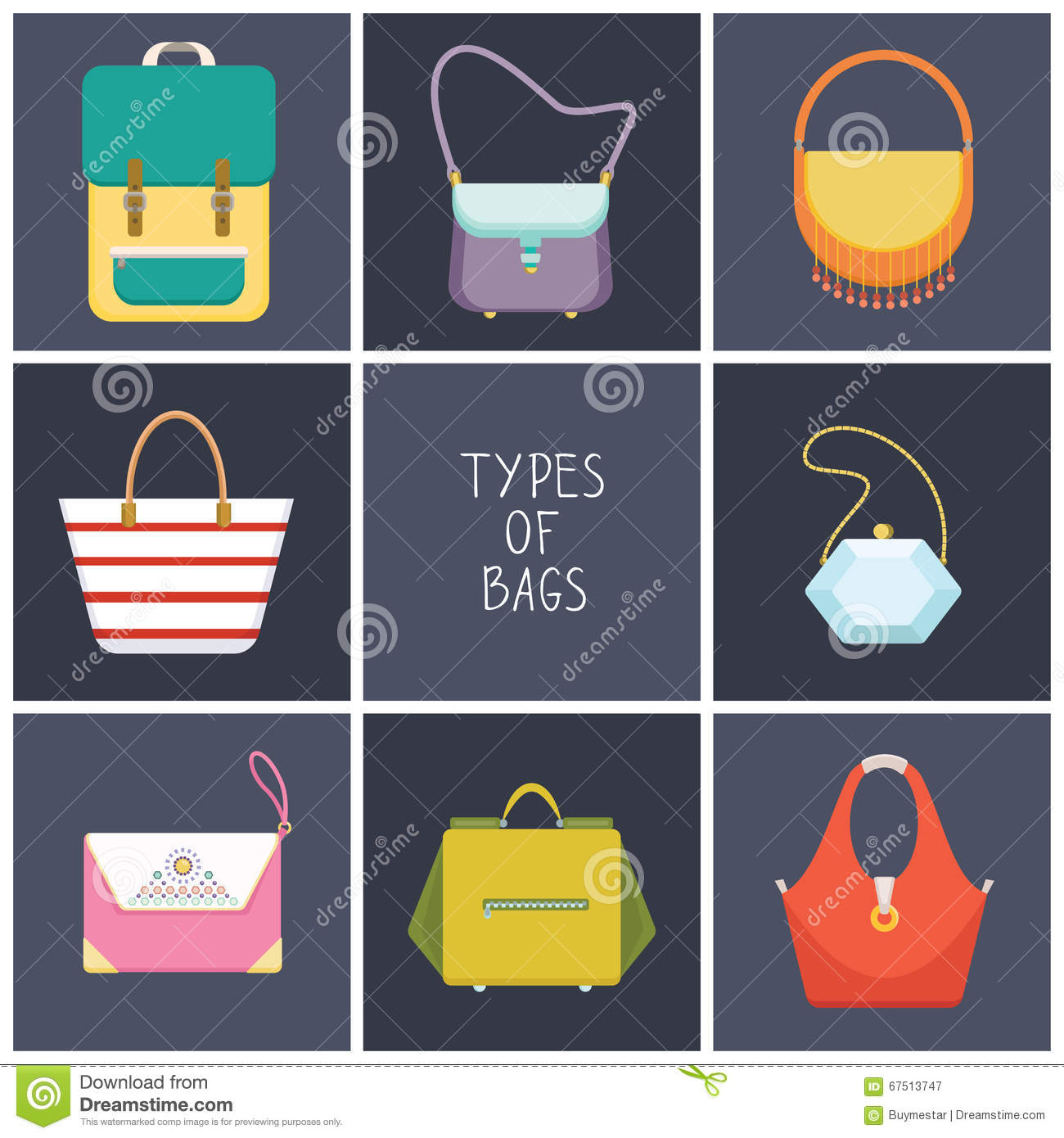 aa77f3f913 Set of eight simple flat icons of different hand bag types - vector  illustration