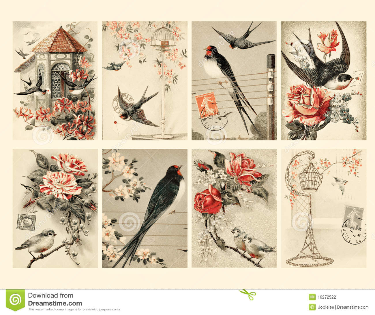 set of eight vintage style bird tags stock photography image 16272522. Black Bedroom Furniture Sets. Home Design Ideas