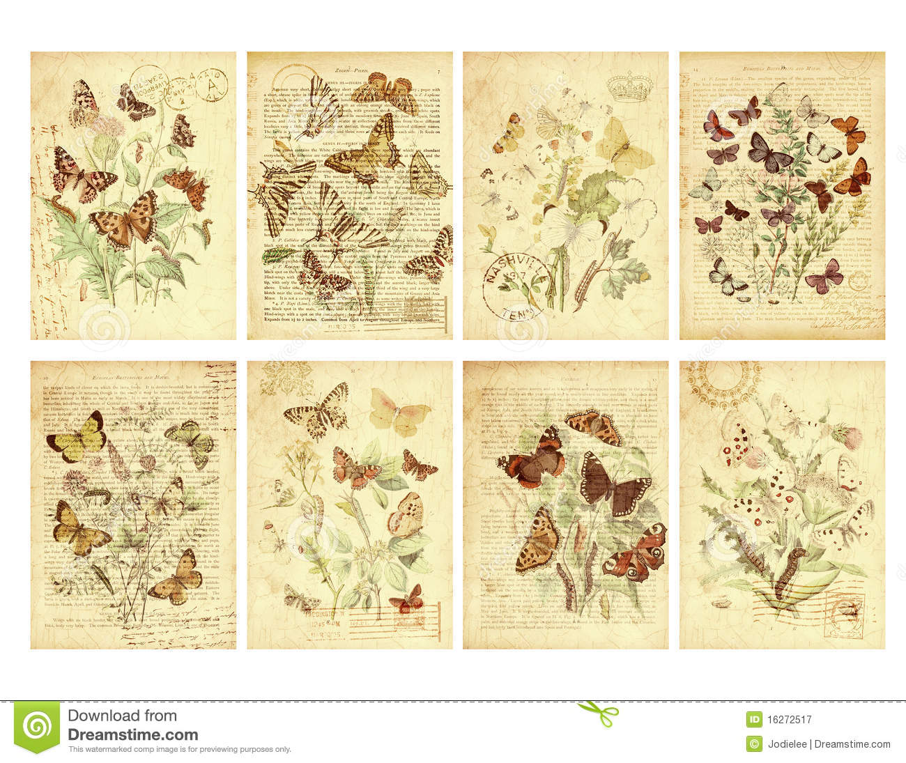 Set of Eight Vintage Style Butterfly Tags