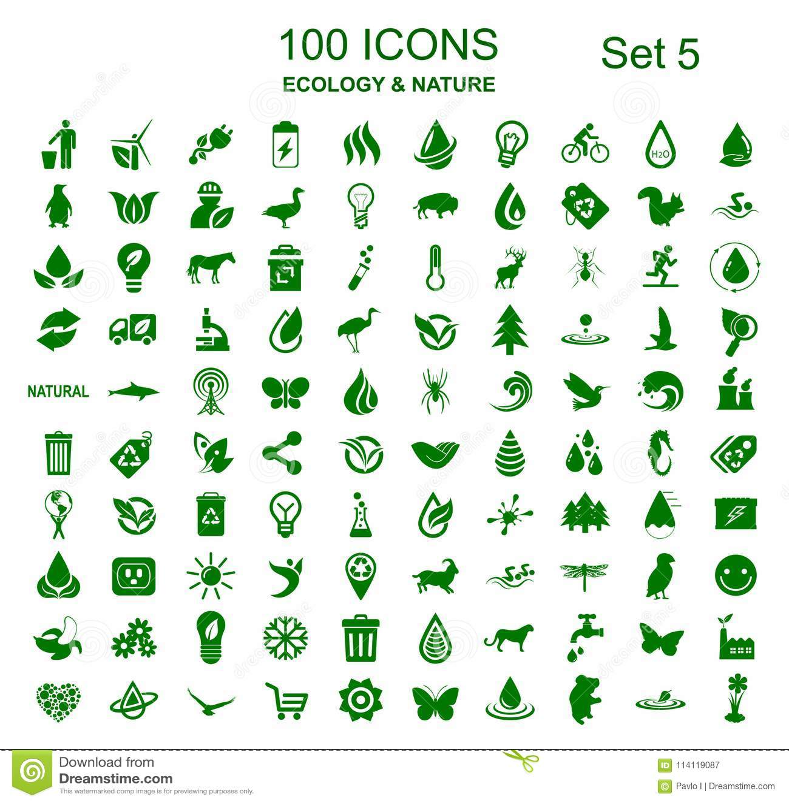 Set 5 100 ekologii ikon - akcyjny wektor
