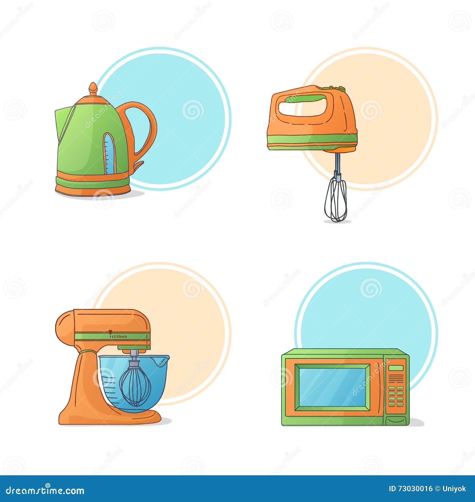 Cartoon kitchen labels set vector cartoon vector for Kitchen set vector
