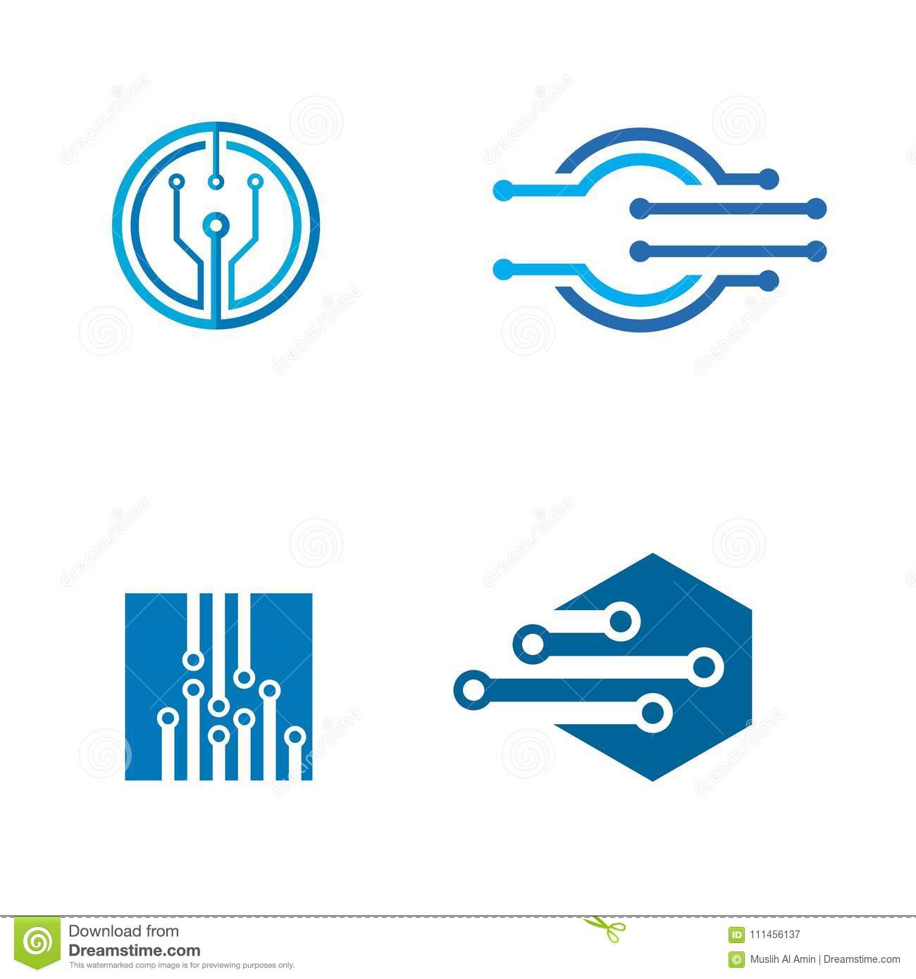 Set Electronic Logo Tech Design Vector Icons Stock Electrical Symbol Icon Isolated On A White Background