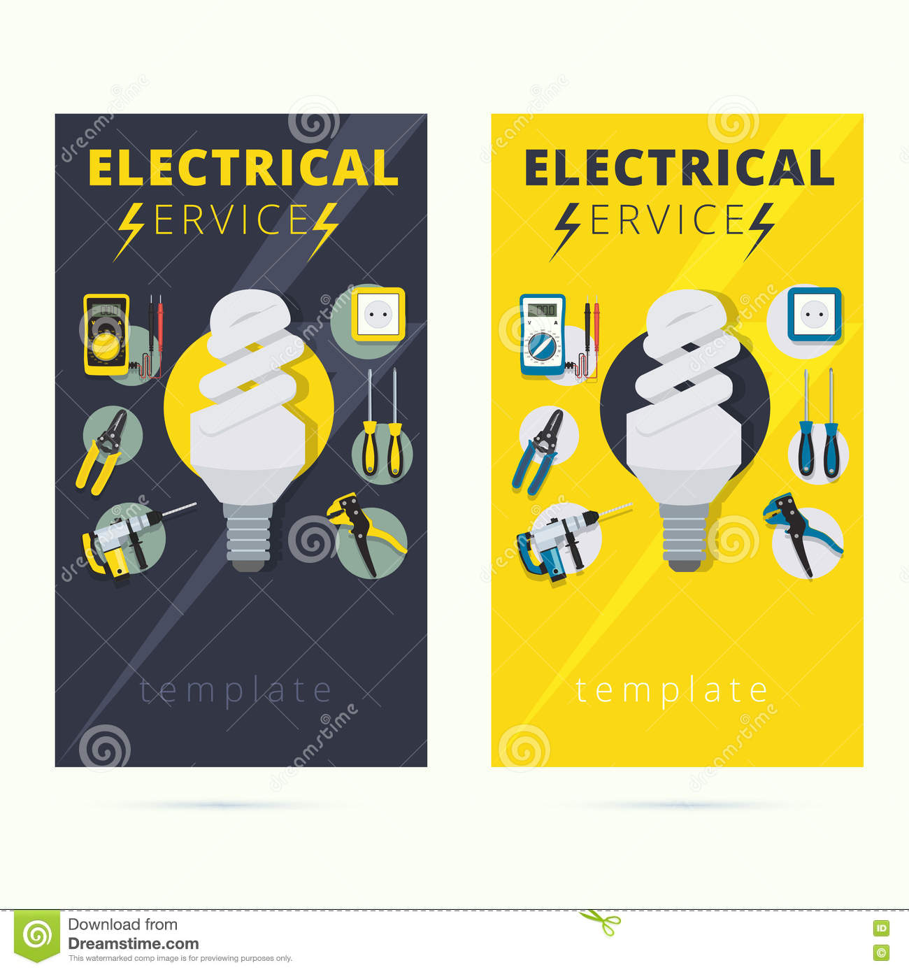 Download Set Of Electrical Services Vector Business Card Concept Design Stock