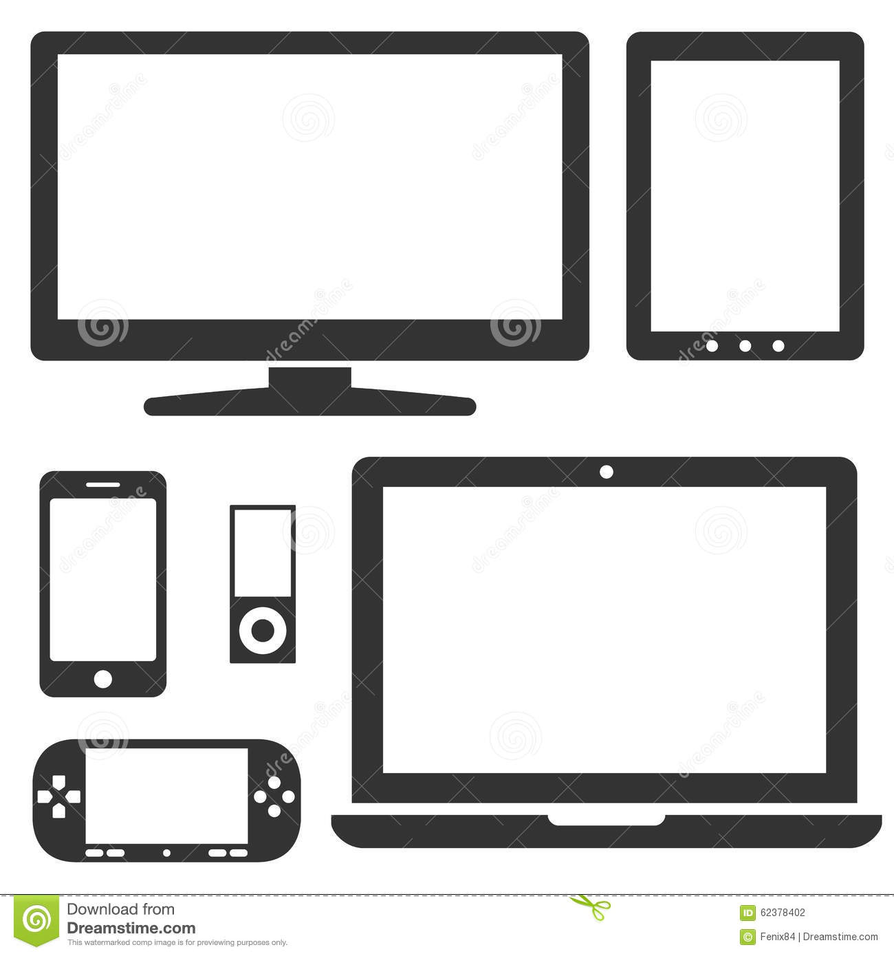 Set of electronic devices with a blank display stock for Console mobile