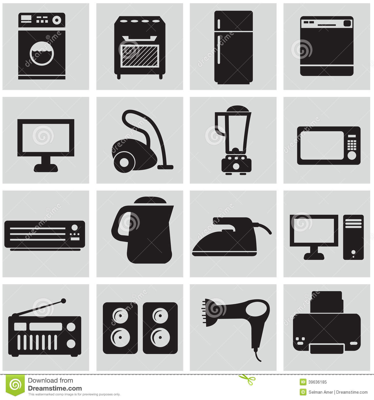 Set Of Electronic Home Devices Stock Vector - Illustration of play, illustration: 39636185