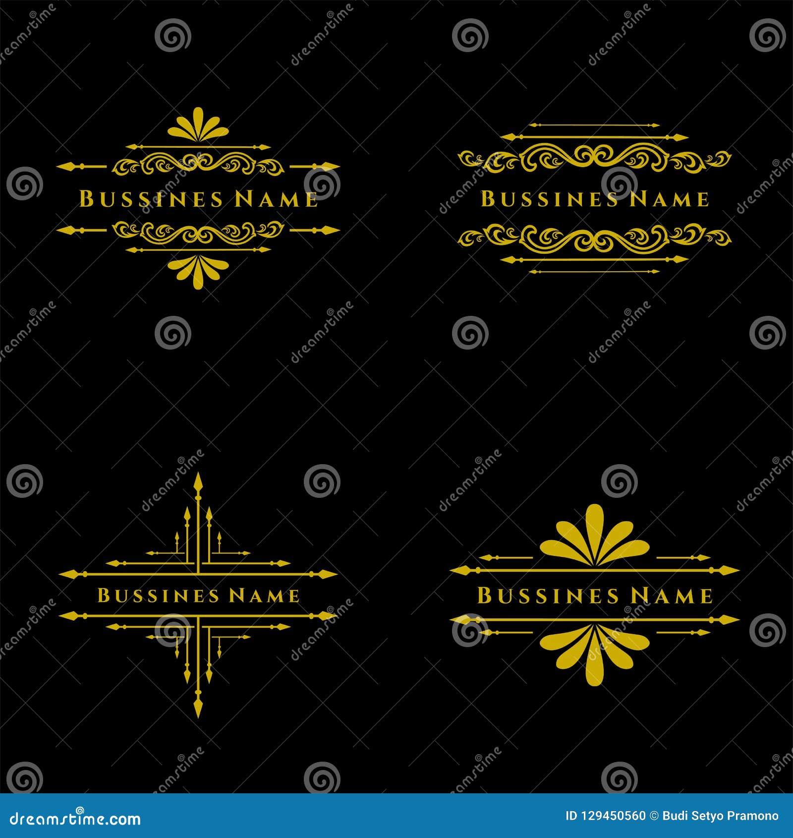 Set Elegancki retro zawijasa wystrój Retro rocznik insygnie, logotypy lub Wektorowi projektów elementy, biznes podpisują, logowie