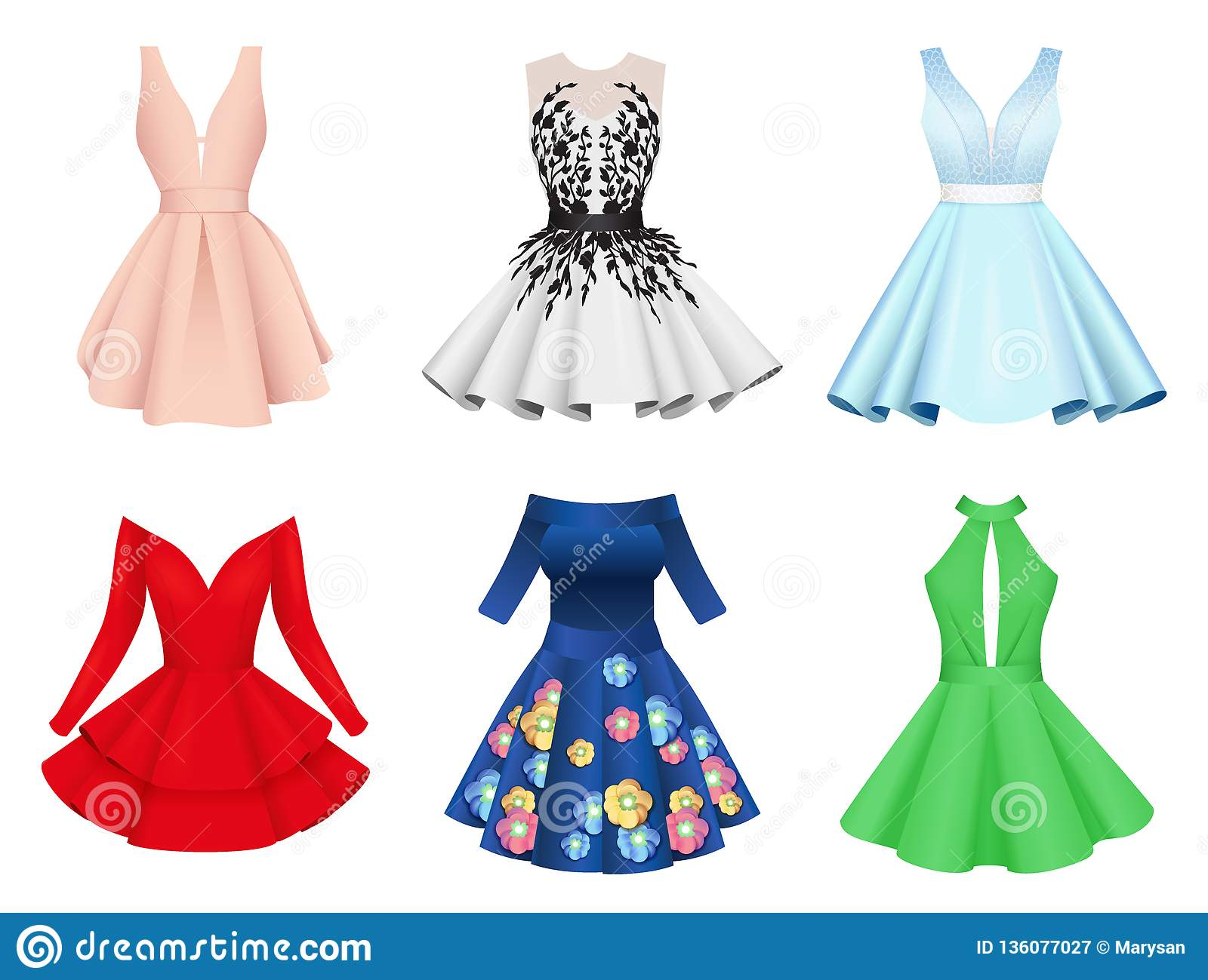 6a37449fa34b45 Set of elegant colorful women cocktail dresses, fashion clothes with  pattern print, with short skirt, flat style vector illustration isolated on  white ...