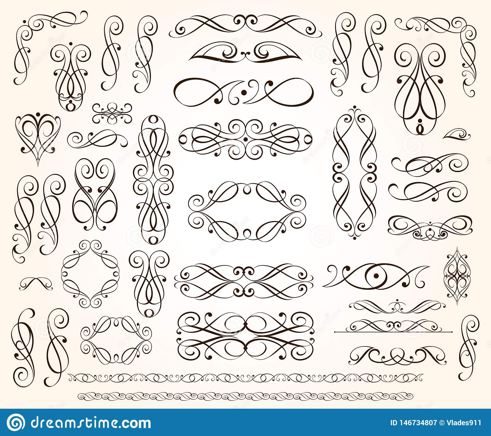 Set of elegant decorative scroll elements. Vector illustration.Black