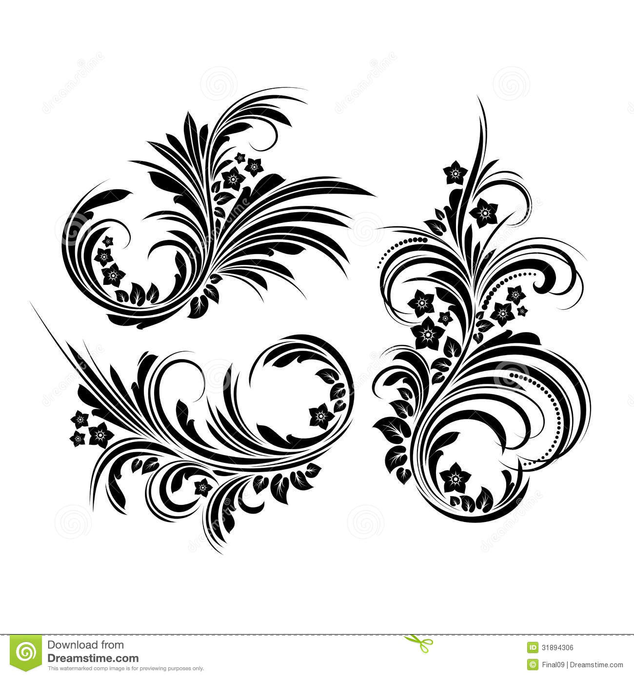 set of elegant floral elements vector stock vector illustration