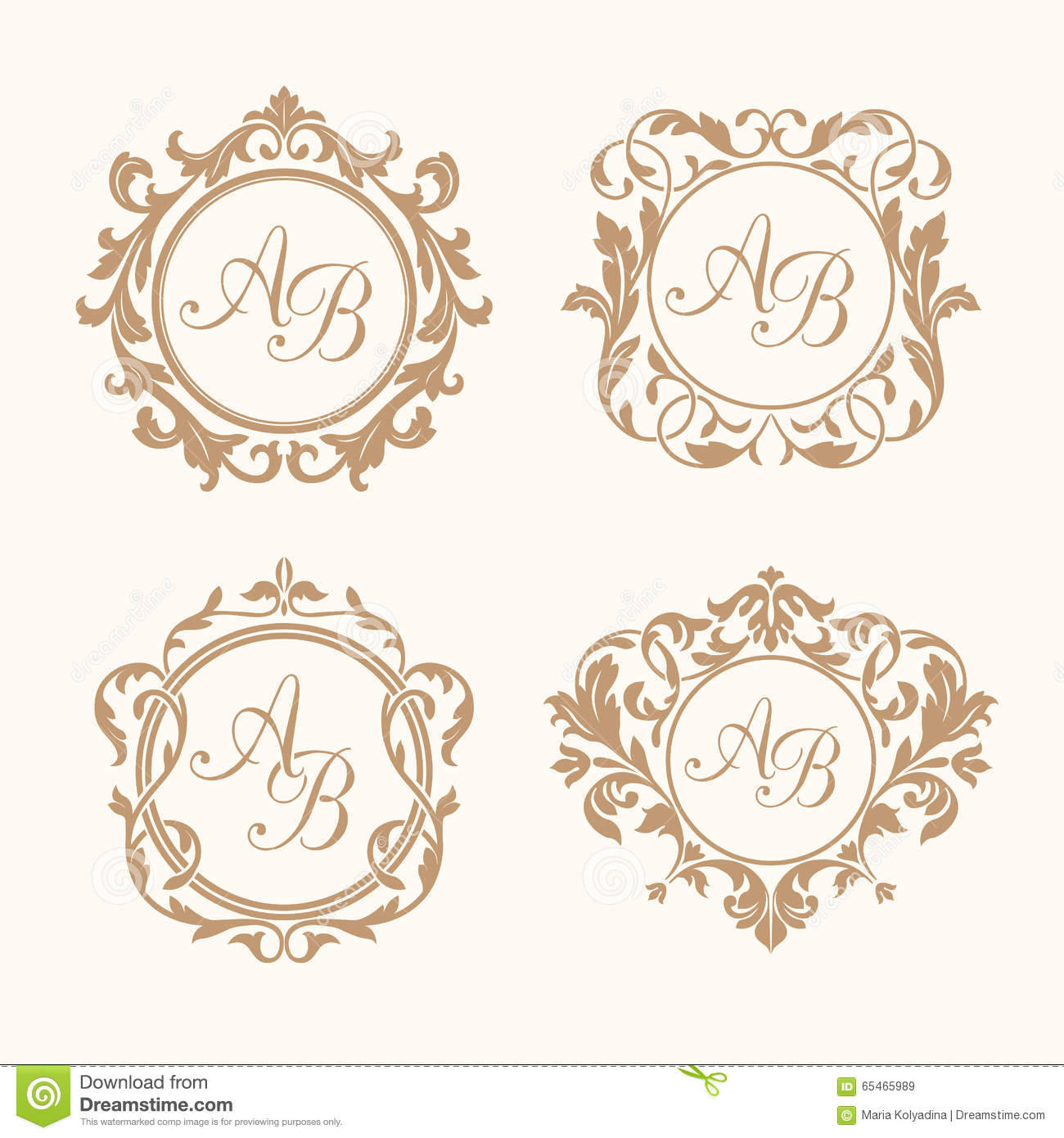 Set Of Elegant Floral Monograms Stock Vector Illustration of cute