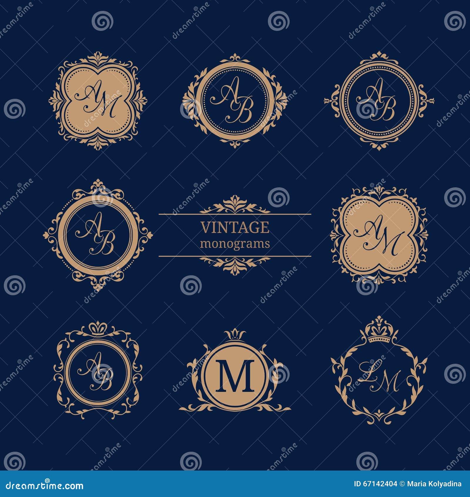 set of elegant floral monograms stock vector