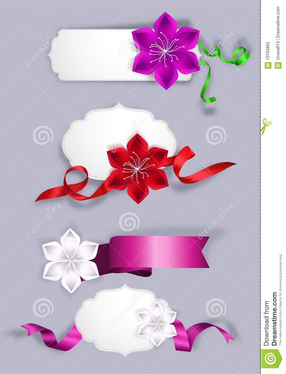 Set Of Elegant Greeting Cards With Silk Ribbons And Flowers Stock