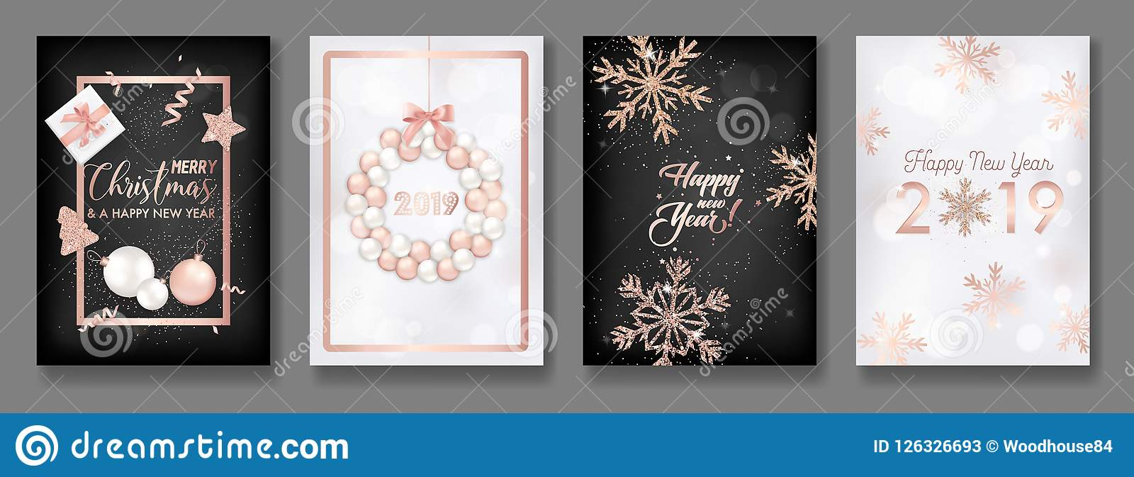 set of elegant merry christmas and new year 2019 cards with shining rose gold glitter christmas