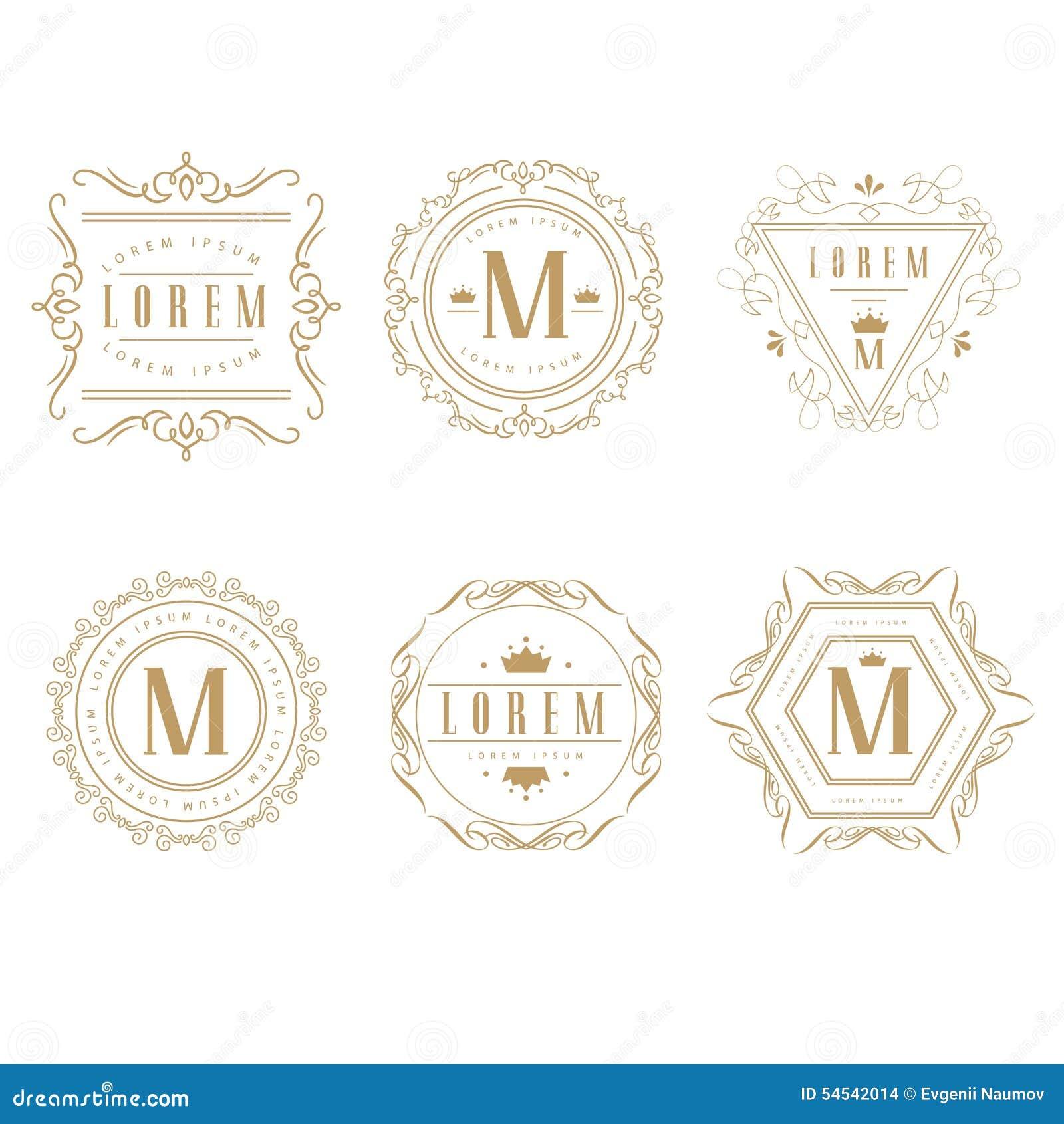 Set of elegant monogram design stock vector image