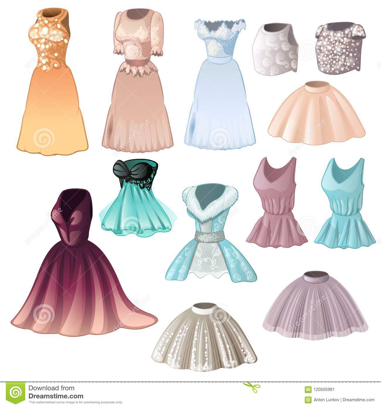 a6c9bc864f96b2 Set of elegant womens dresses and skirts isolated on white background.  Vector cartoon close-up illustration.