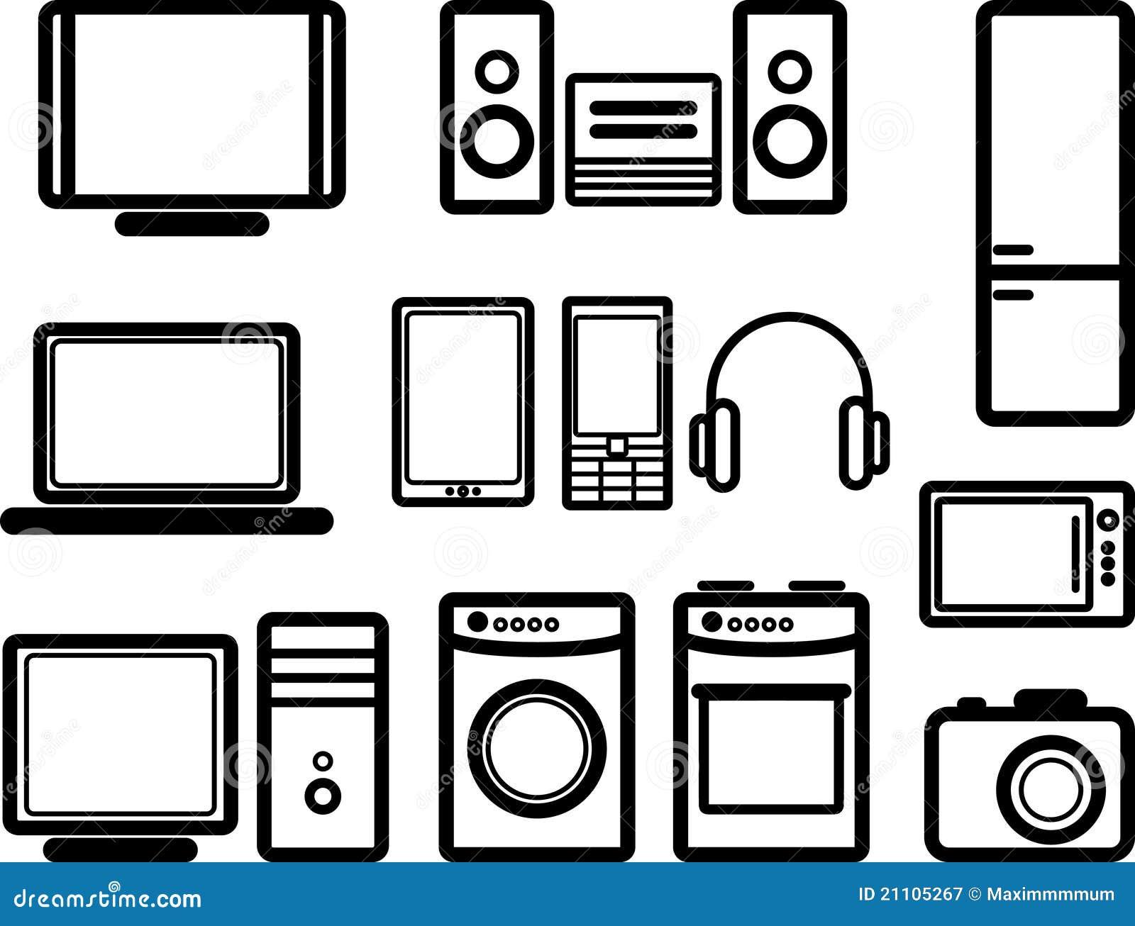 Set elektronische Geräte stock abbildung. Illustration von audio ...