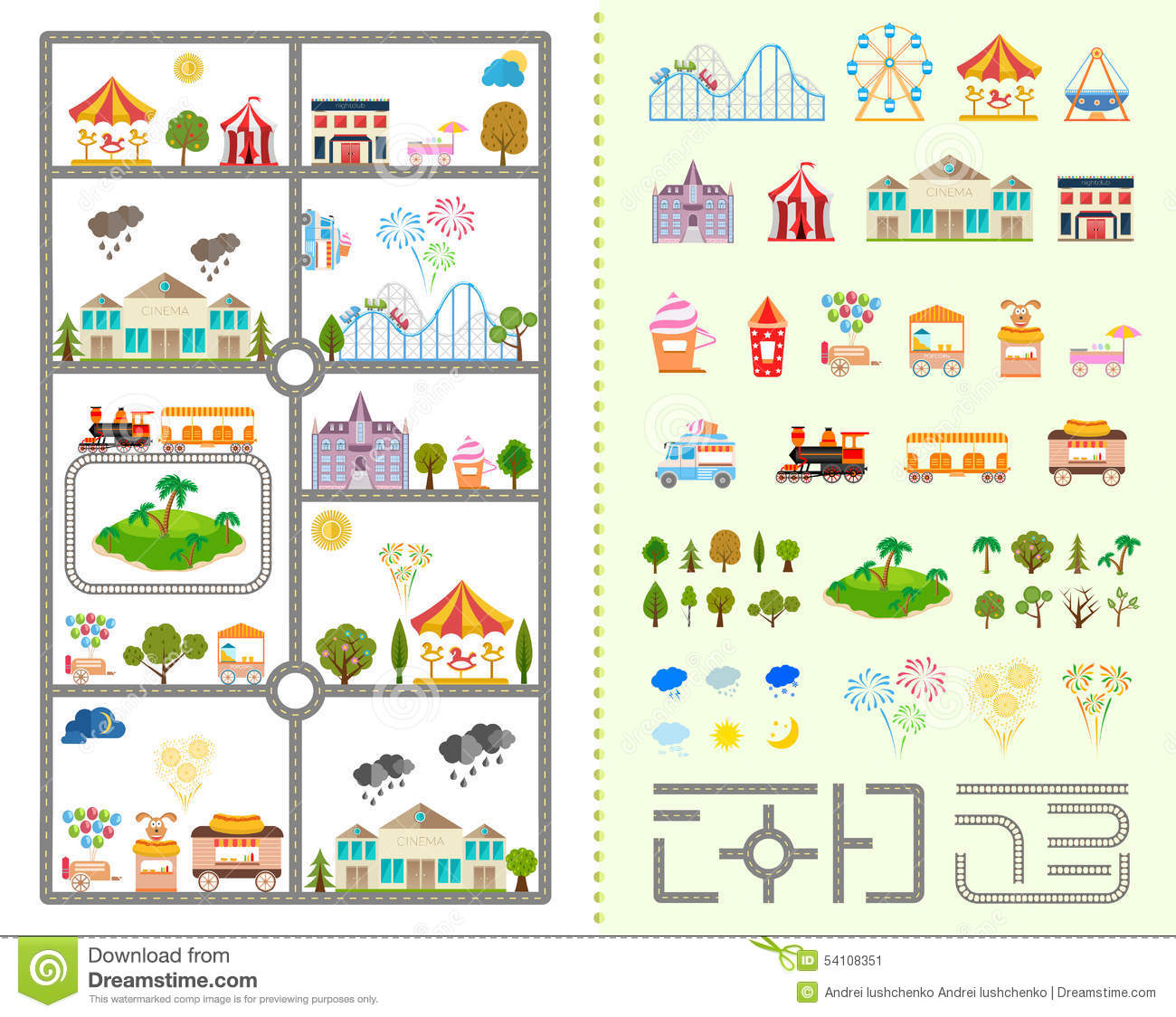 Simple Site Map: Set Of Elements For Creating Your Own City Stock Illustration