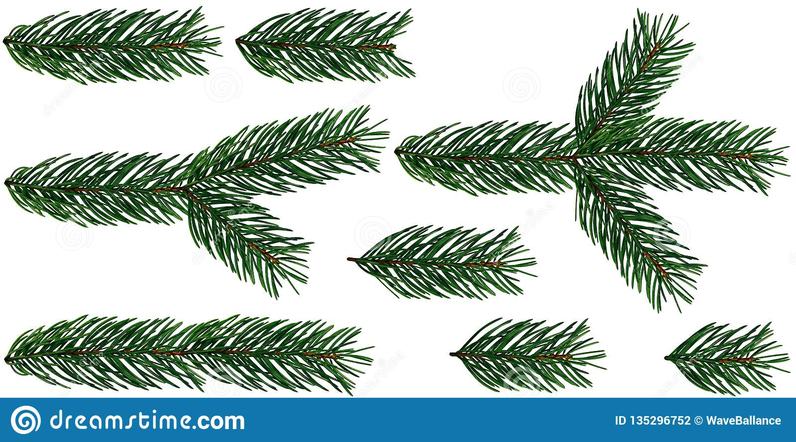 Christmas Branch Png.A Set Of 8 Elements Of Fir Tree Branches Christmas Tree Is