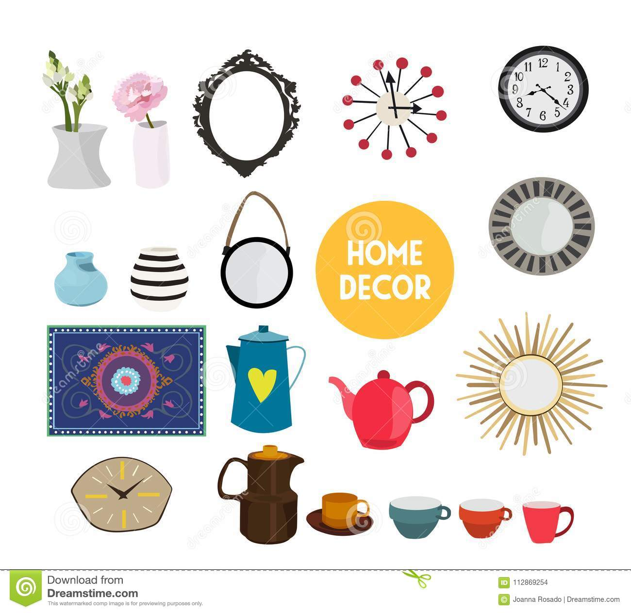 Home Decor Vector Elements Set Collection House Interior