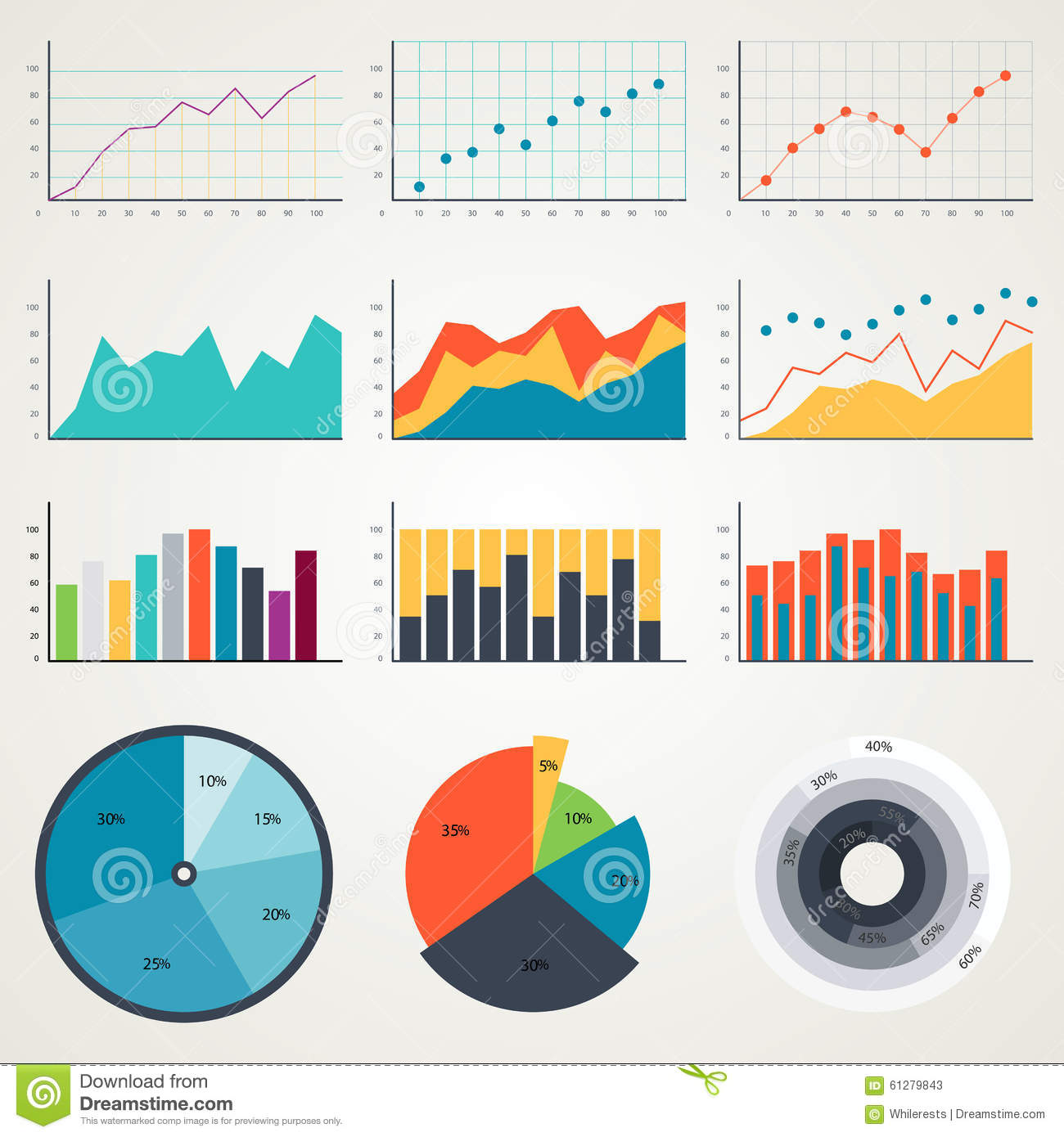 Set Of Elements For Infographics  Charts  Graphs  Diagrams  In Color Illustrations Stock