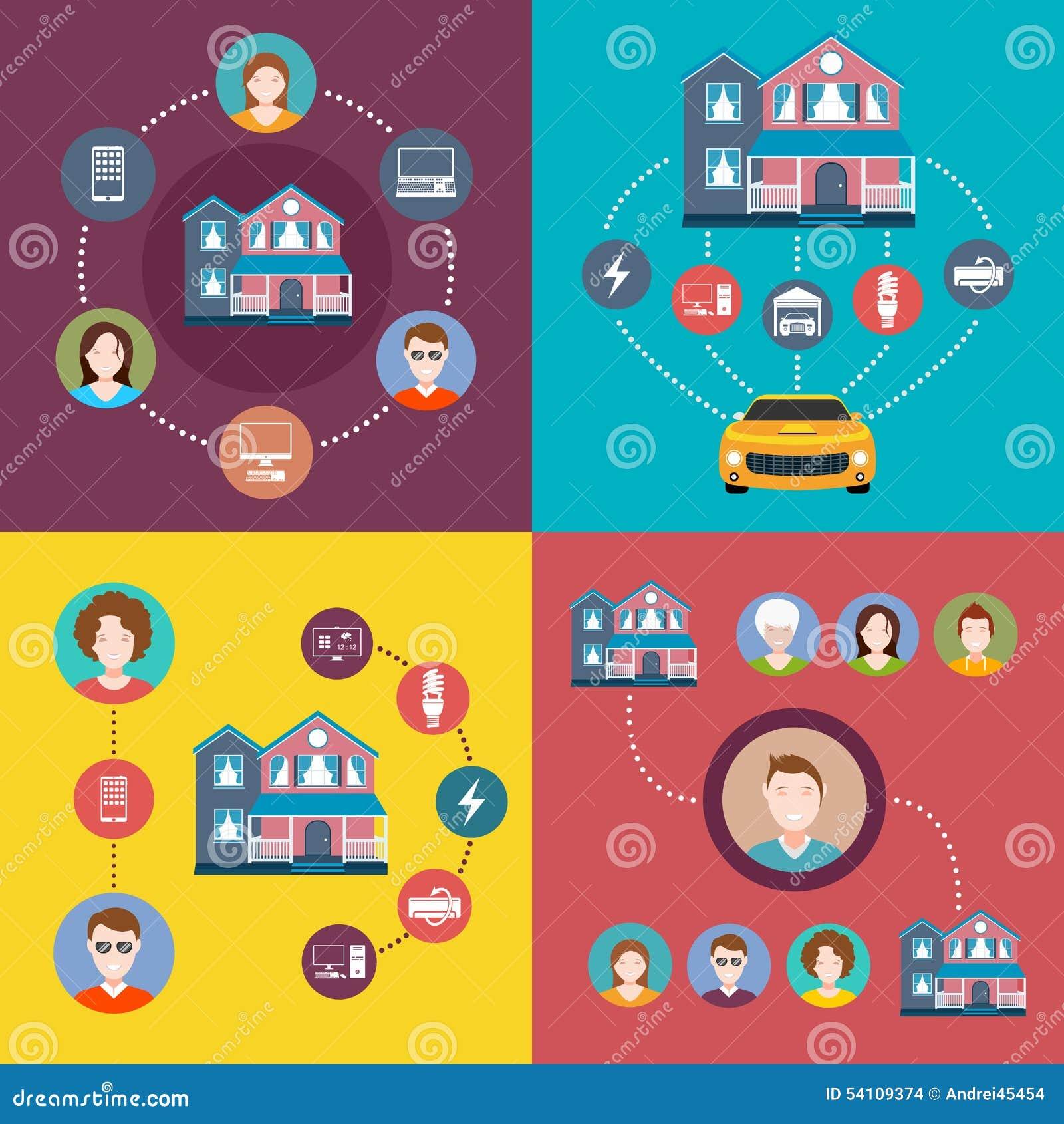set of elements infographics smart home stock illustration. Black Bedroom Furniture Sets. Home Design Ideas