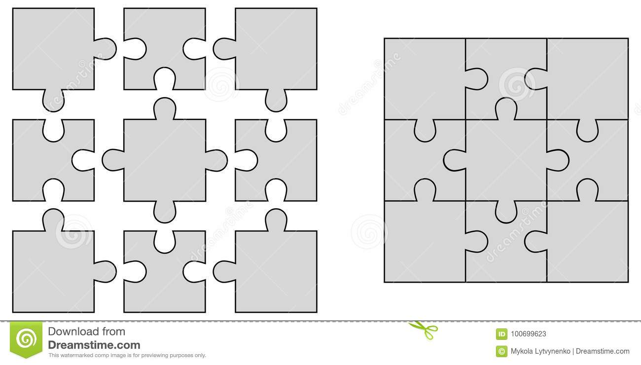 Set Elements Of Puzzle, Jigsaw Puzzle Blank Vector To Create ...