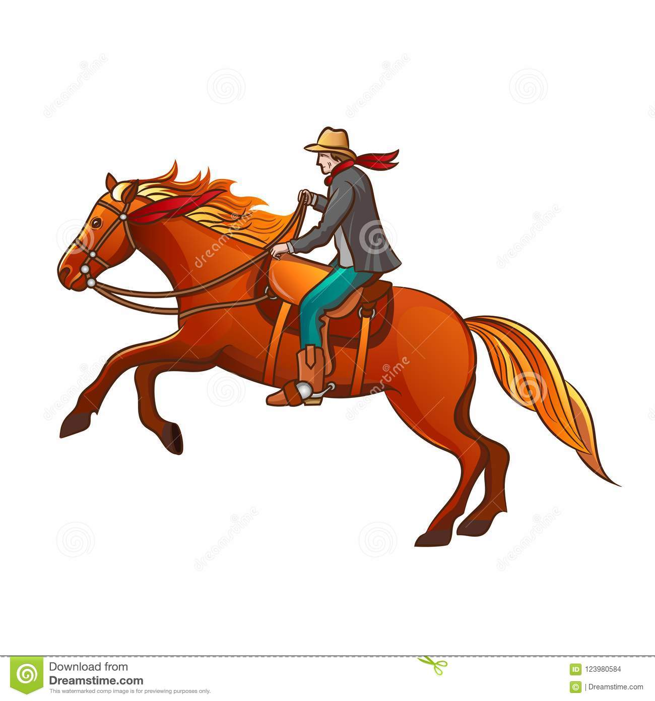 Set of elements of the Wild West. The equipment of cowboys. Cowboy on horse.