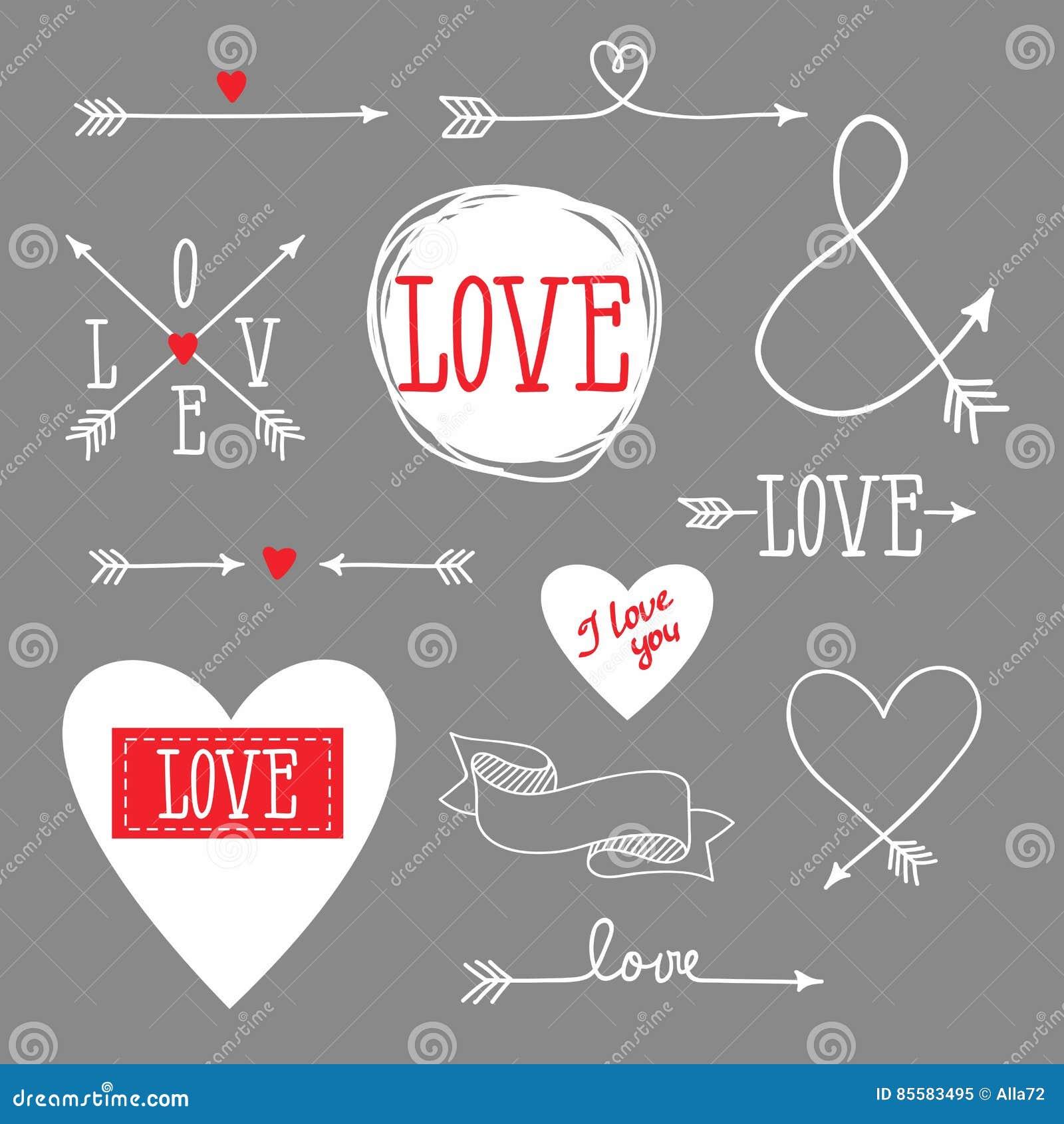 Set elementy dla projekta - strzała, serca, miłość