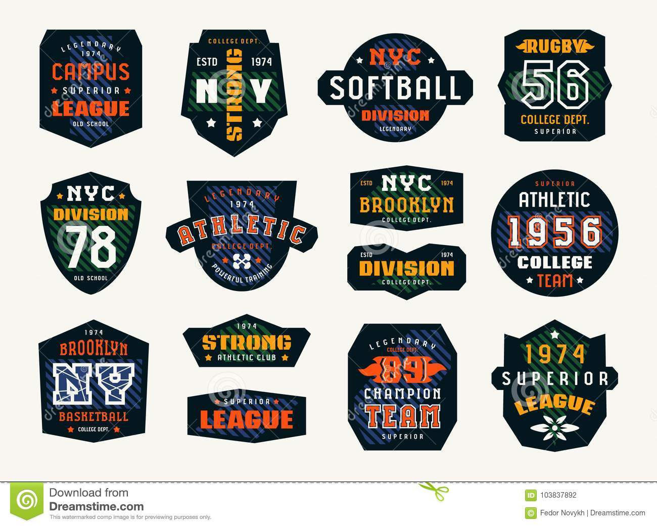 d1e2c5406 Set of emblems and patches in sport style. Softball, basketball and rugby  themes. Graphic design for t-shirt