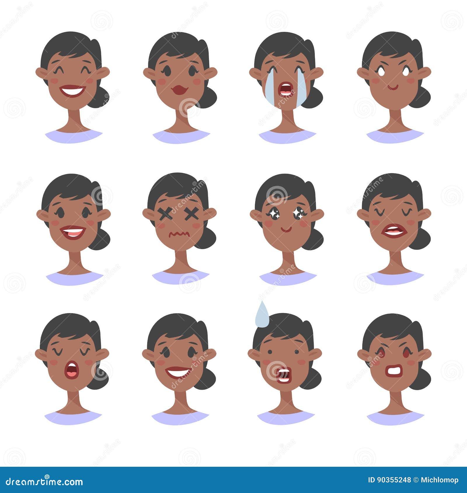 Set emocjonalny charakter Kreskówki stylowy emoji Odosobneni czarni dziewczyn avatars z różnymi wyrazami twarzy Płaska ilustracja