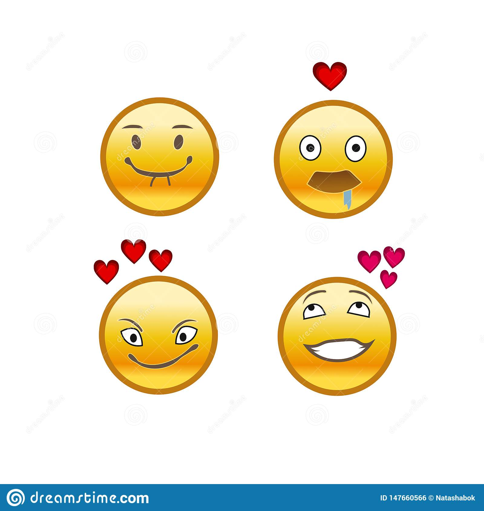 Set Of Emojis, Love Emoticons, Fall In Love Stock Vector