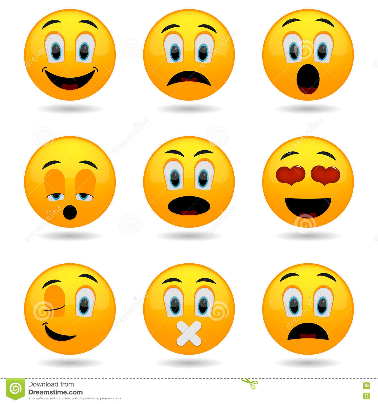 Set Of Emoticons  Smile Icons  Smiley Faces  Emotional Funny Faces