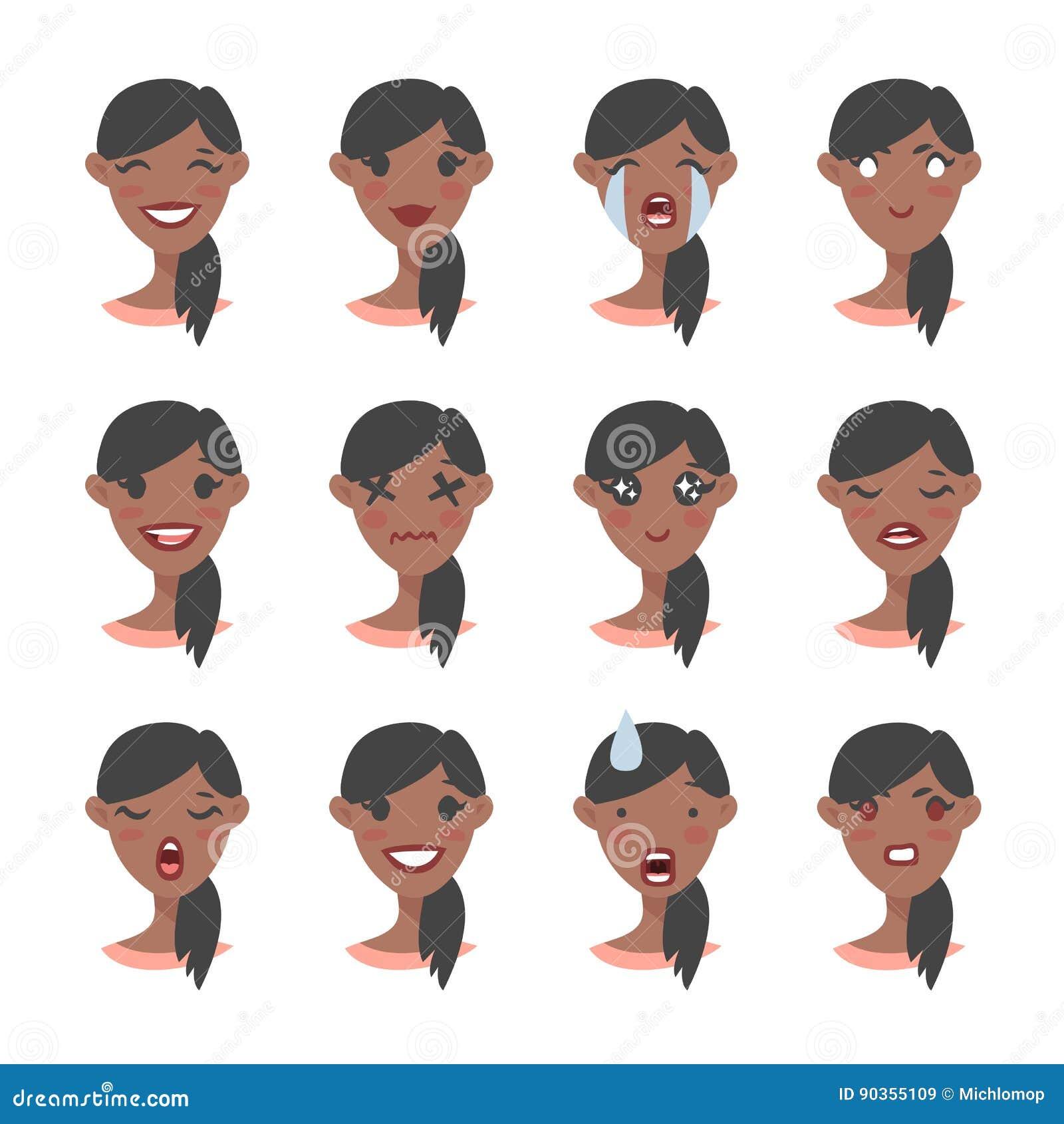 Set Of Emotional Character  Cartoon Style Emoji  Isolated