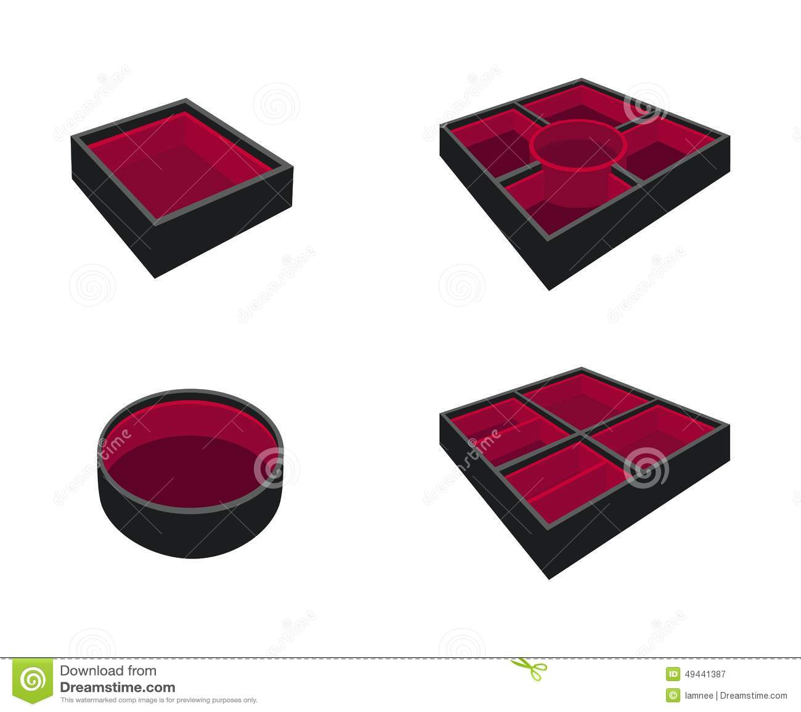 Set Of Empty Bento Box On White Background