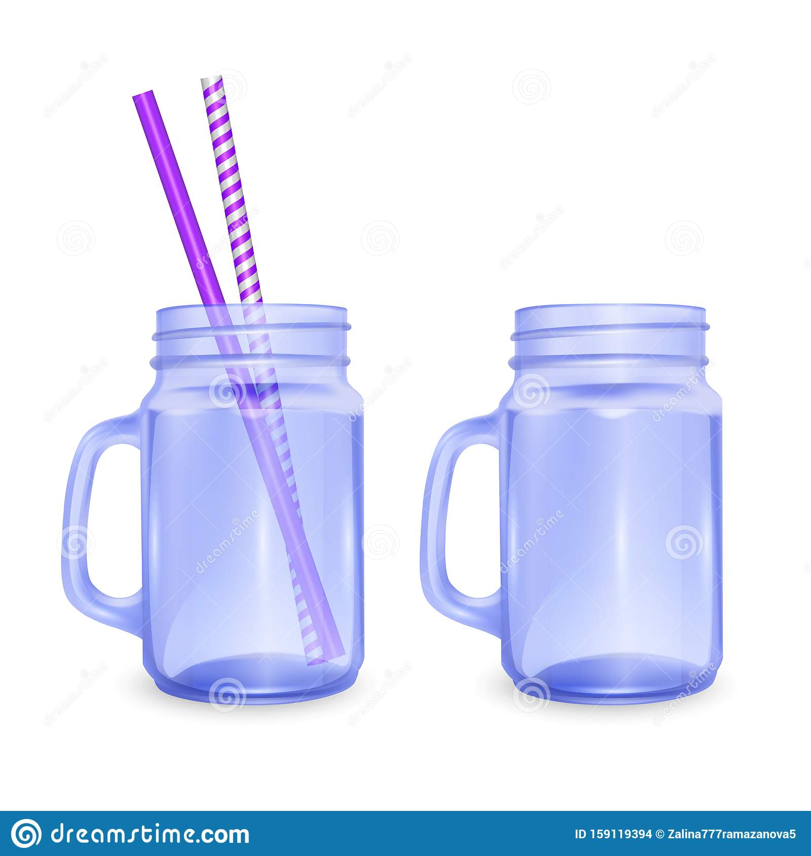 Empty jar for smoothies with striped straw for cocktails isolated on white background for advertising your products drinks in