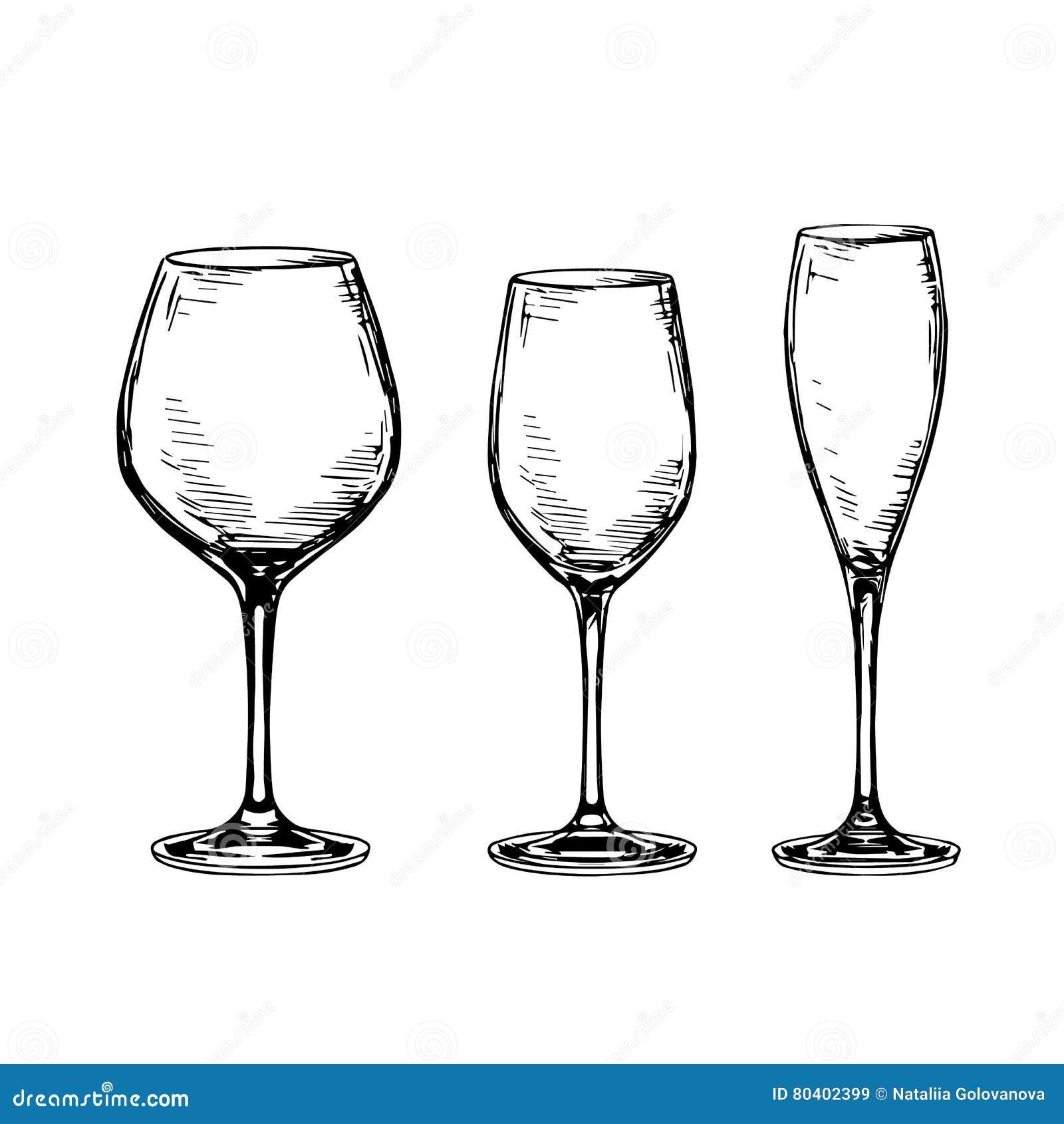 6f1b8f7f0da Set of empty wine glasses. stock vector. Illustration of engrave ...