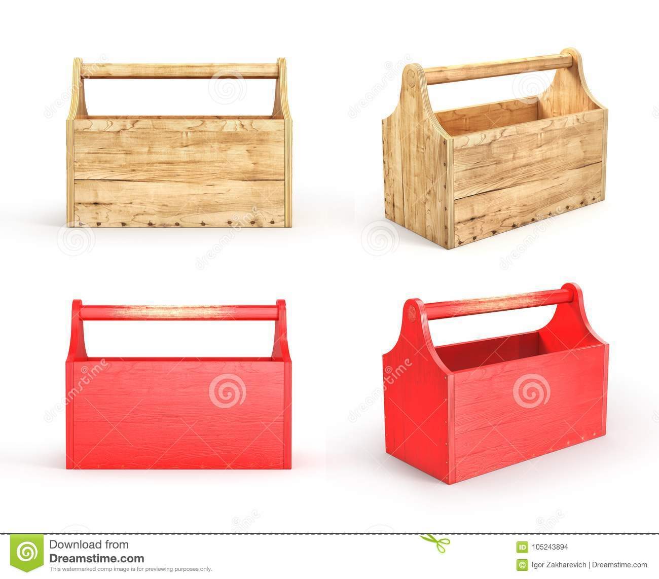 Set Of Empty Wood Toolbox On A White Background 3d Illustration