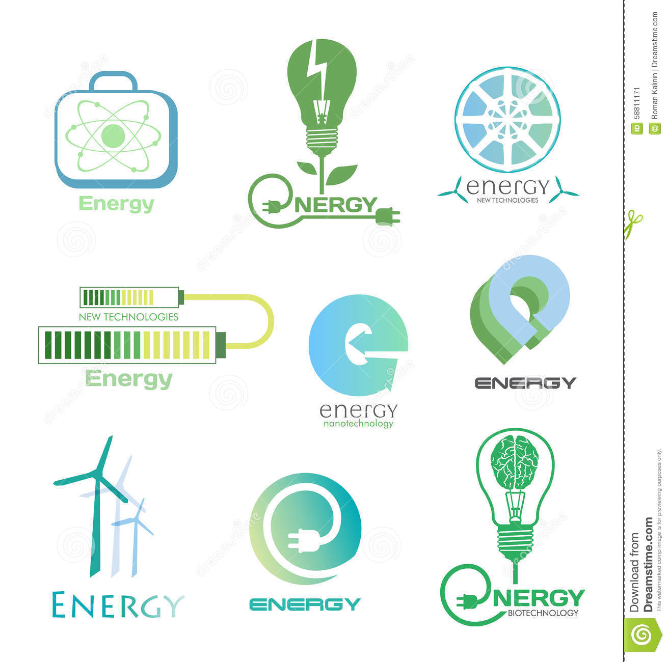 Set energy logos and emblems design elements and symbols of power design elements and symbols of power plant electricity wind turbine atom ecology conservation biocorpaavc Images