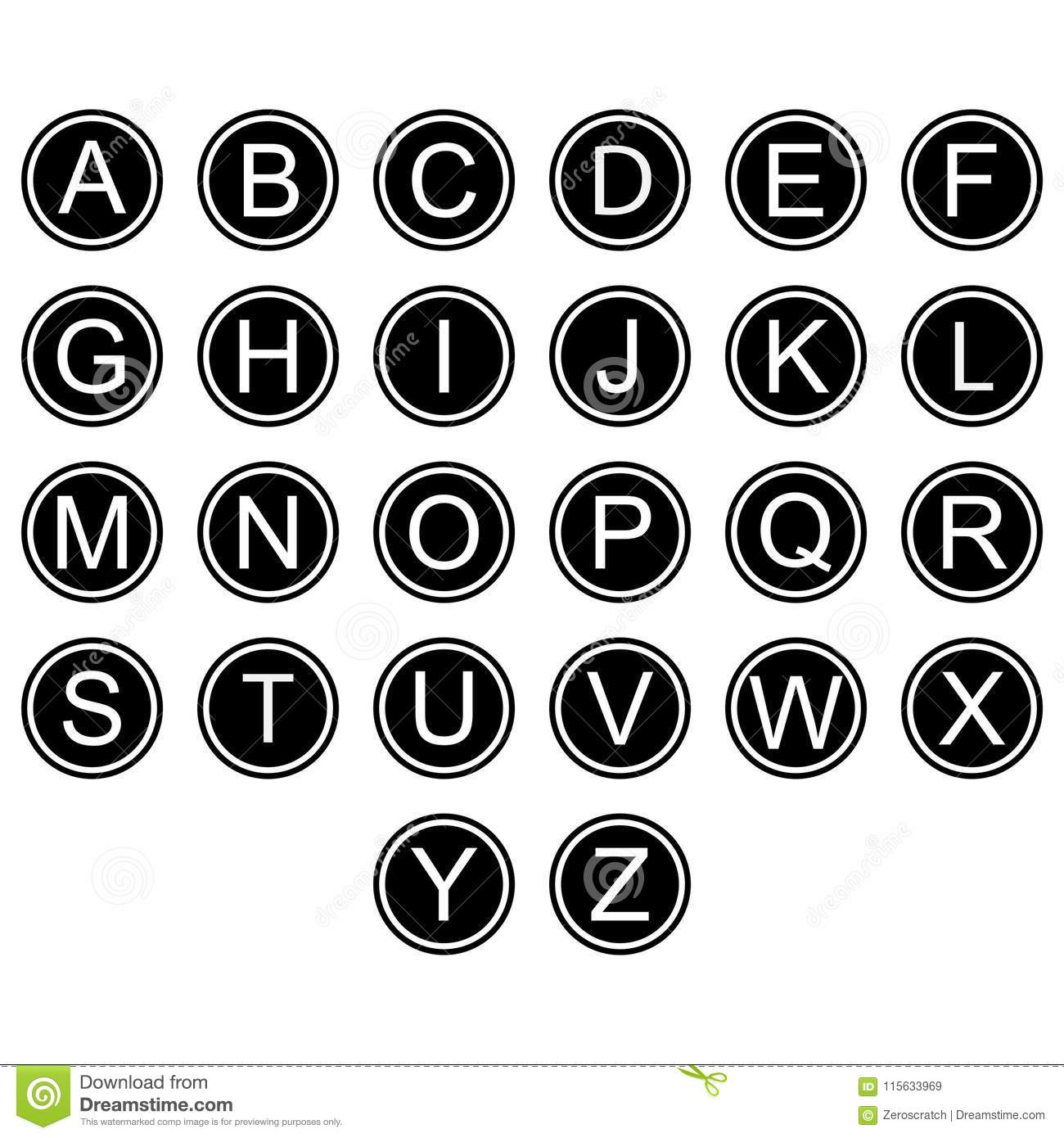 English Alphabet Letters Symbols Icons Signs Simple Black And White