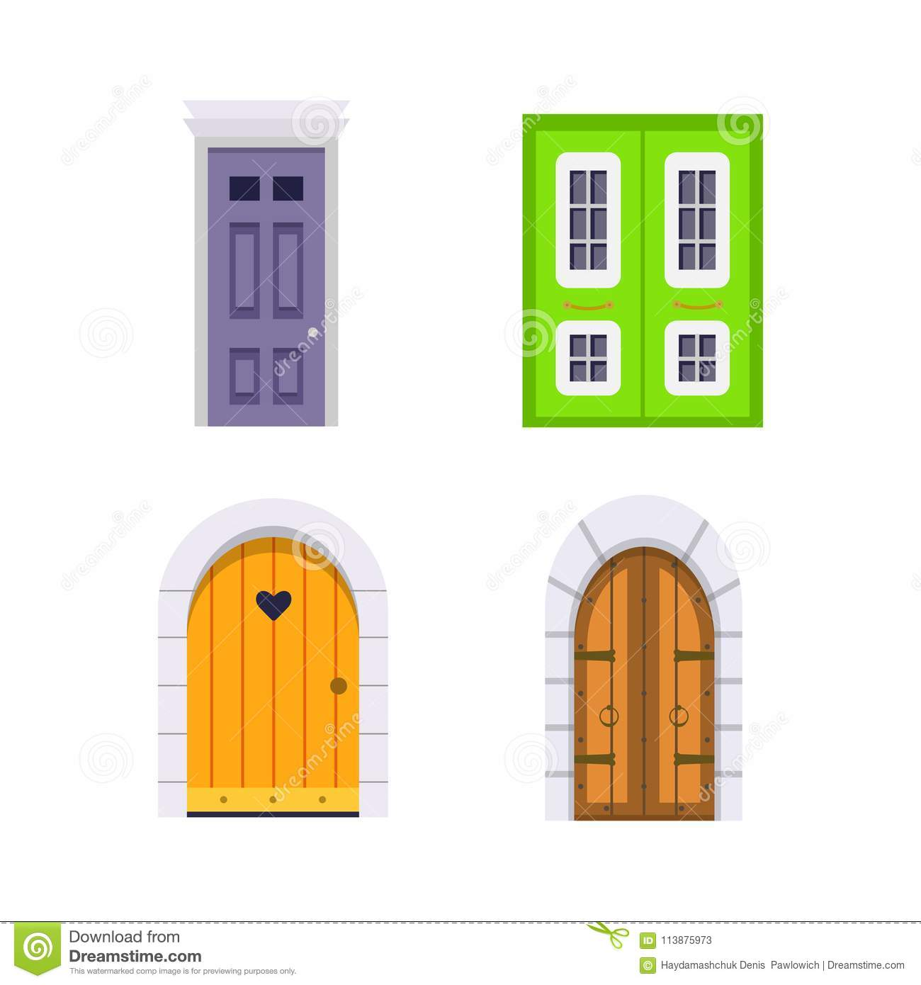 Set Entrance Door Front View Homes And Buildings Vector Element In