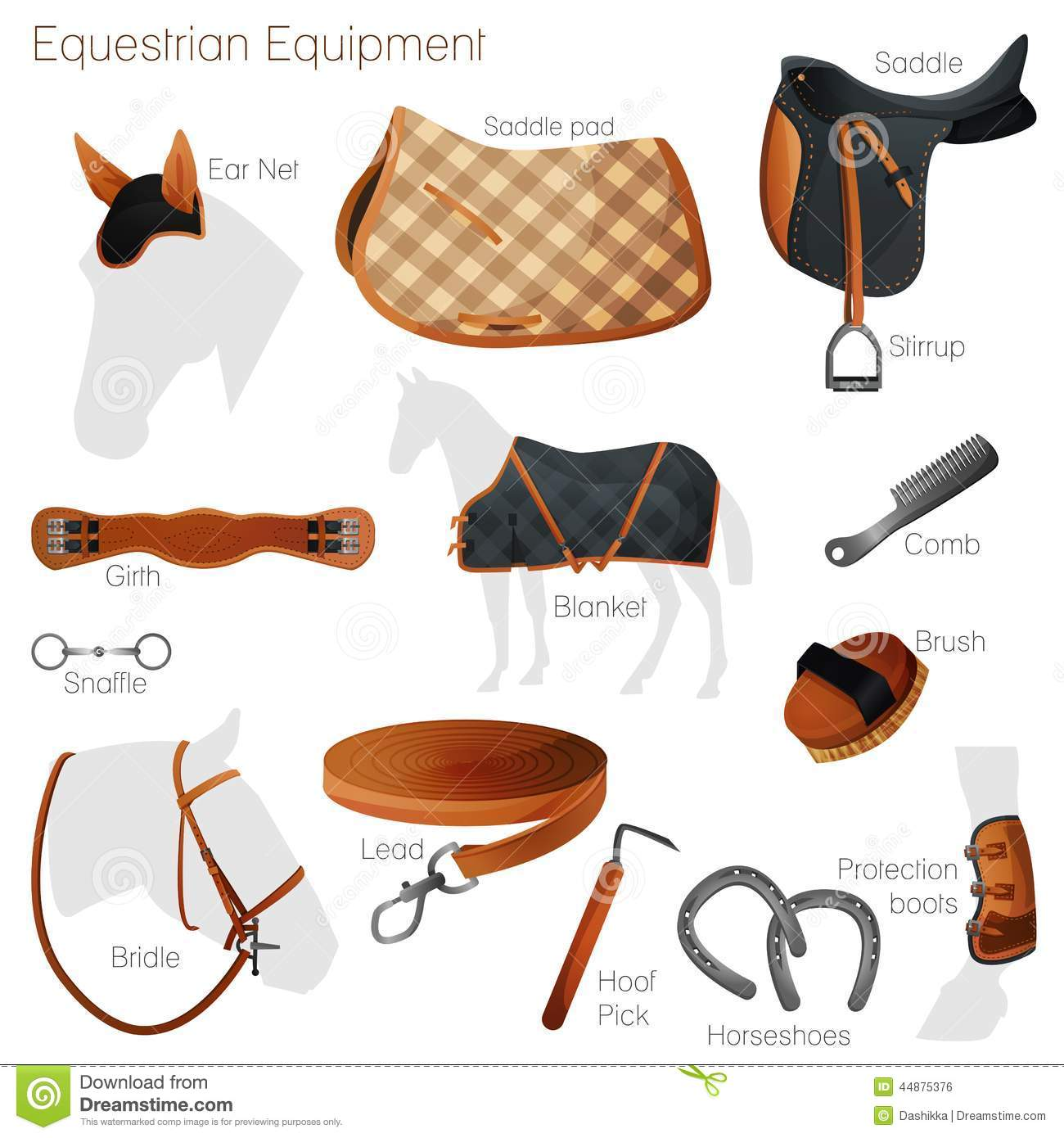 set of equestrian equipment vector stock vector illustration of element farm 44875376. Black Bedroom Furniture Sets. Home Design Ideas